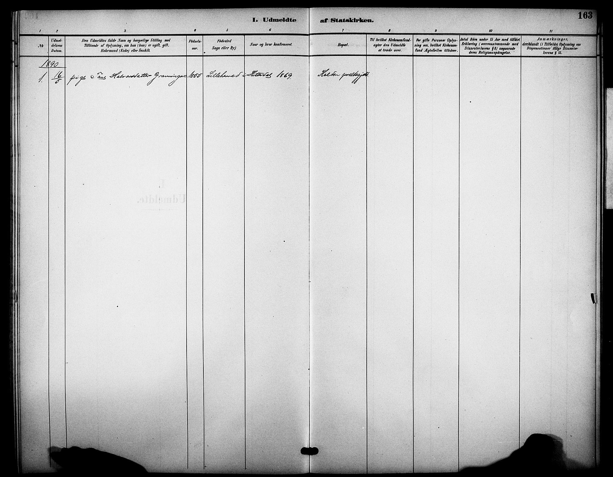 SAKO, Heddal kirkebøker, F/Fb/L0001: Ministerialbok nr. II 1, 1884-1910, s. 163