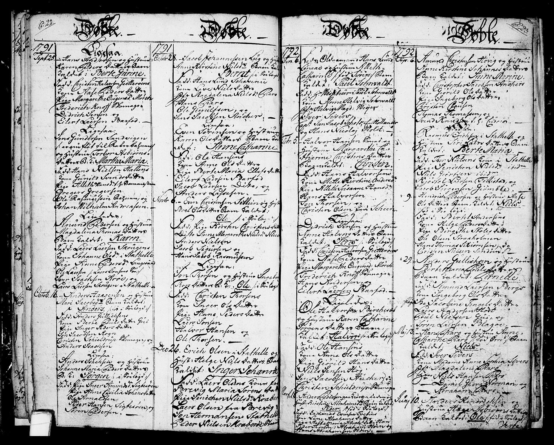 SAKO, Langesund kirkebøker, G/Ga/L0001: Klokkerbok nr. 1, 1783-1801, s. 22-23