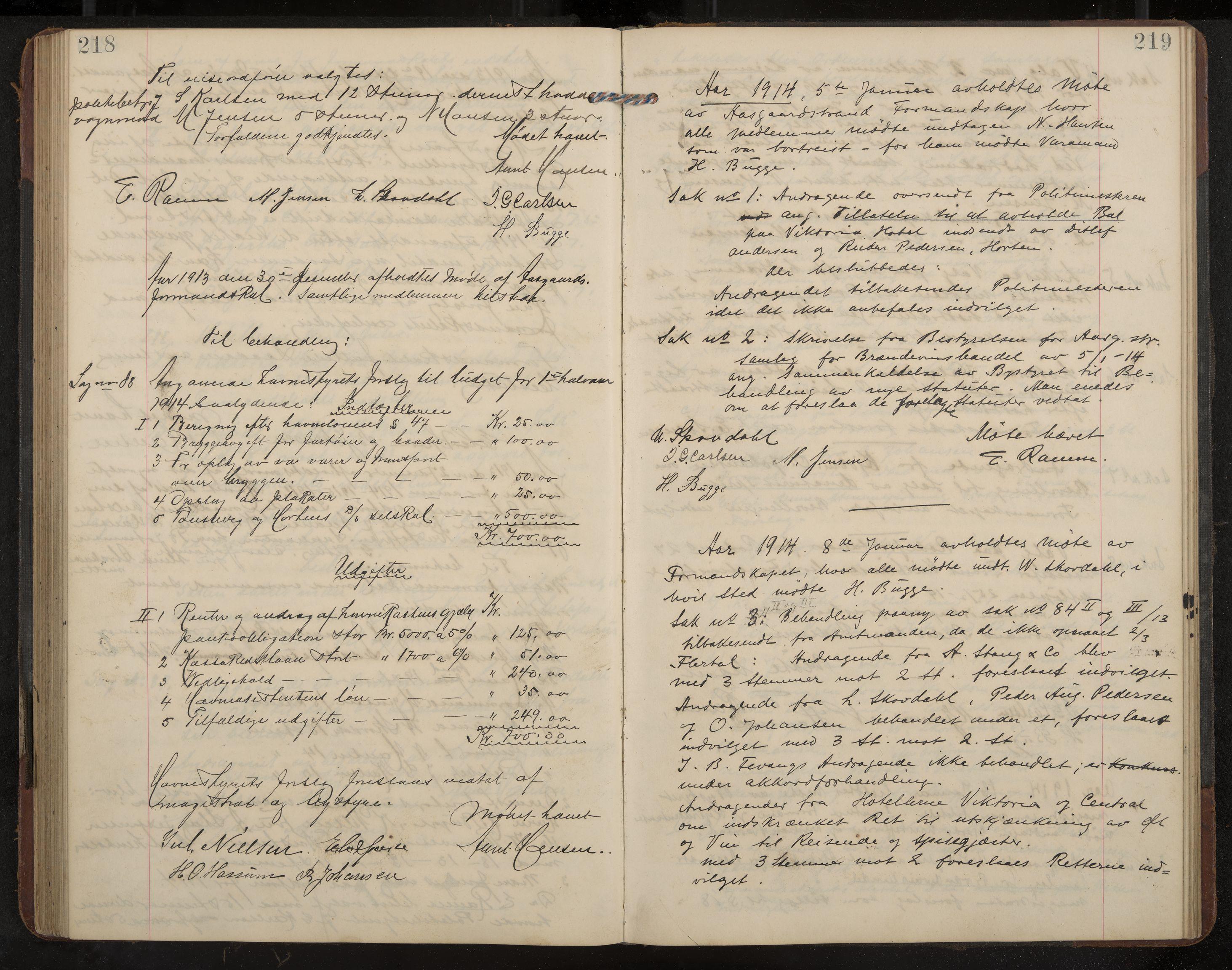 IKAK, Åsgårdstrand formannskap og sentraladministrasjon, A/L0004: Møtebok med register, 1908-1915, s. 218-219
