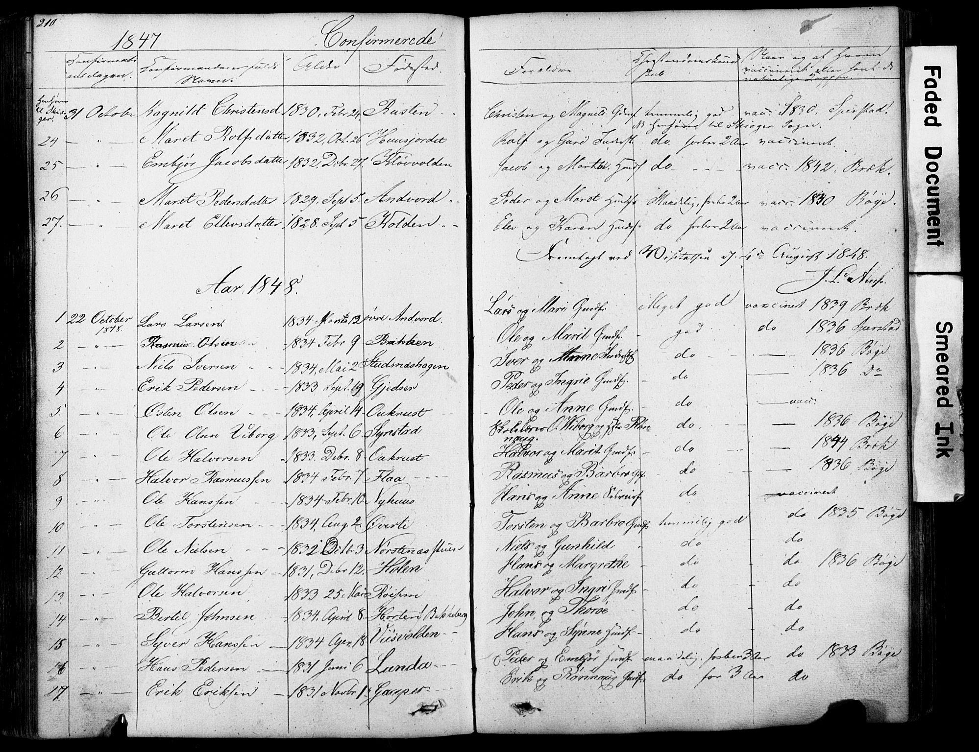 SAH, Lom prestekontor, L/L0012: Klokkerbok nr. 12, 1845-1873, s. 210-211