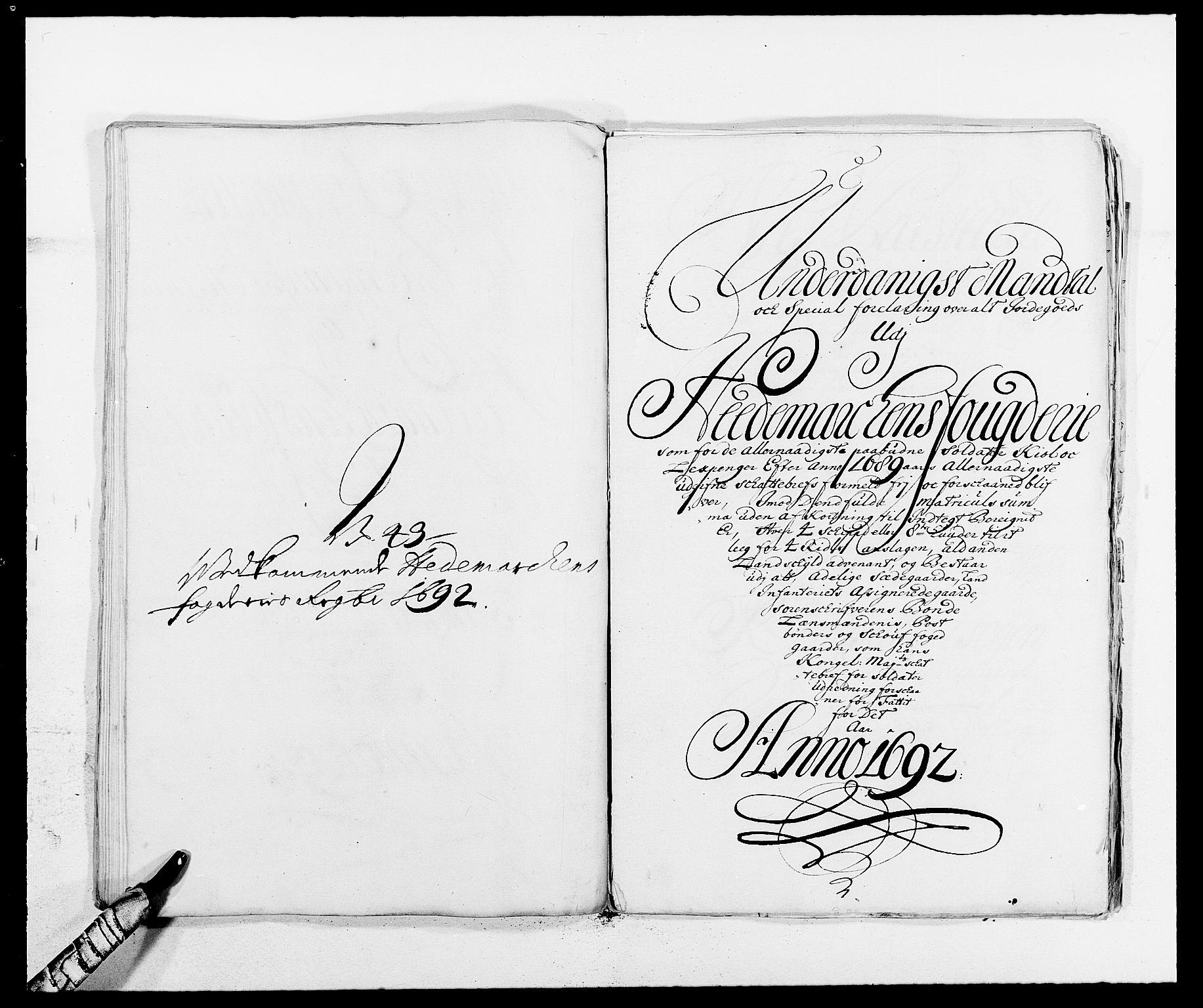 RA, Rentekammeret inntil 1814, Reviderte regnskaper, Fogderegnskap, R16/L1032: Fogderegnskap Hedmark, 1689-1692, s. 144