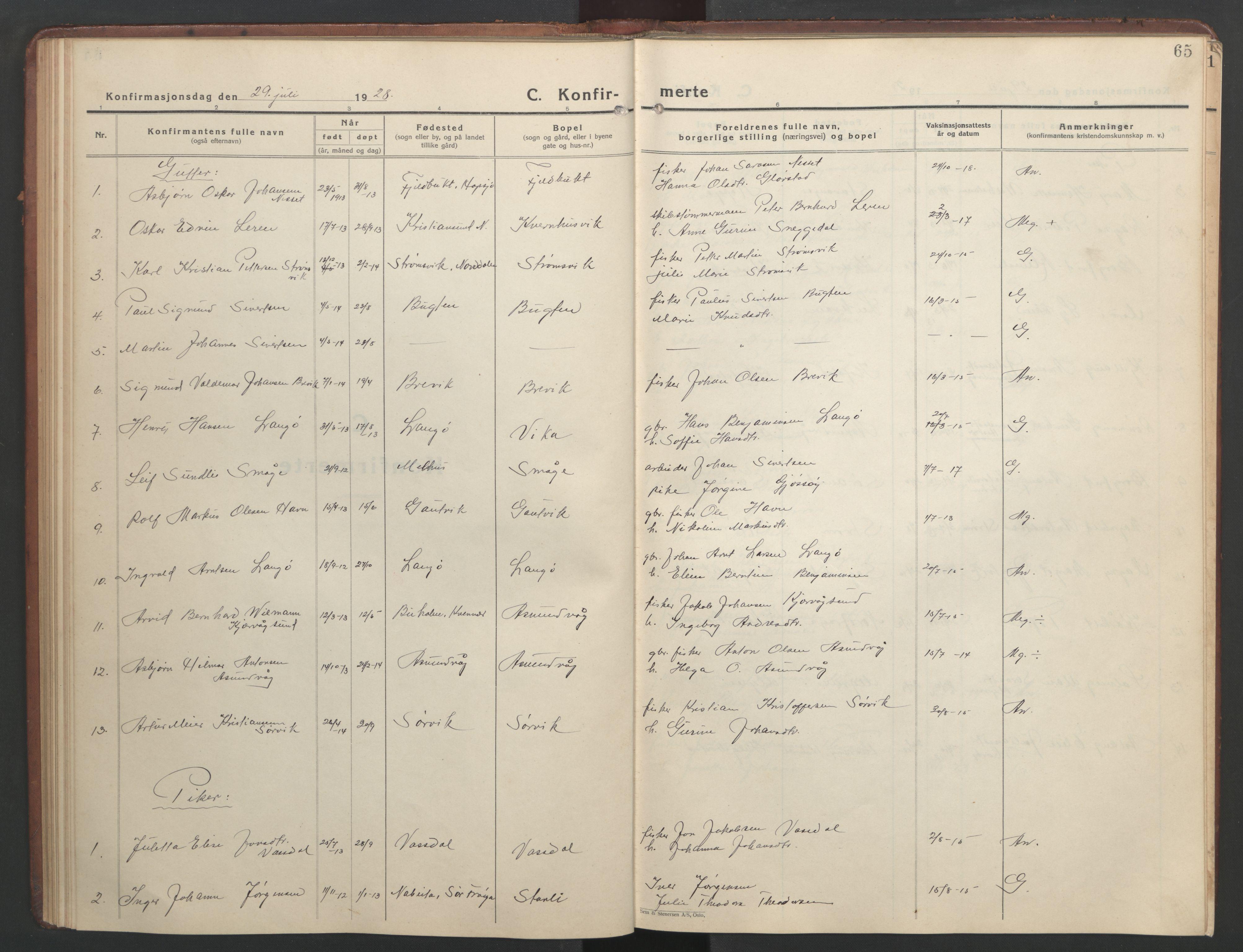 SAT, Ministerialprotokoller, klokkerbøker og fødselsregistre - Sør-Trøndelag, 634/L0544: Klokkerbok nr. 634C06, 1927-1948, s. 65