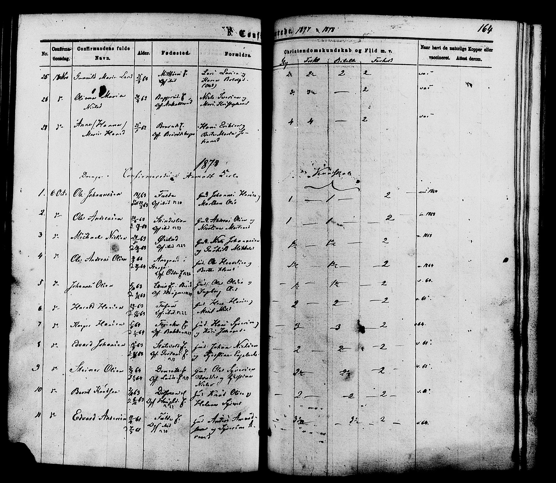 SAH, Nordre Land prestekontor, Ministerialbok nr. 2, 1872-1881, s. 164