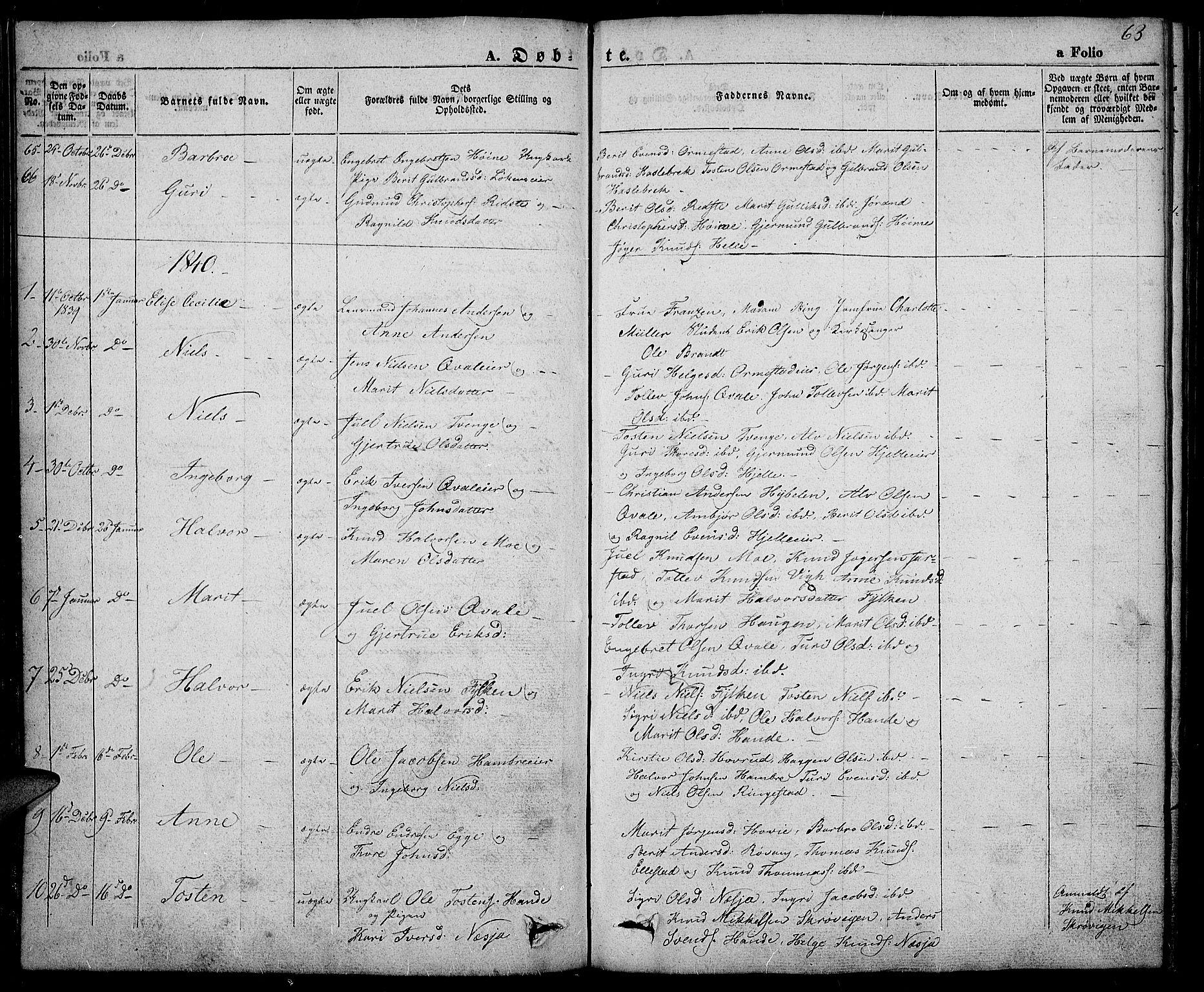SAH, Slidre prestekontor, Ministerialbok nr. 3, 1831-1843, s. 63