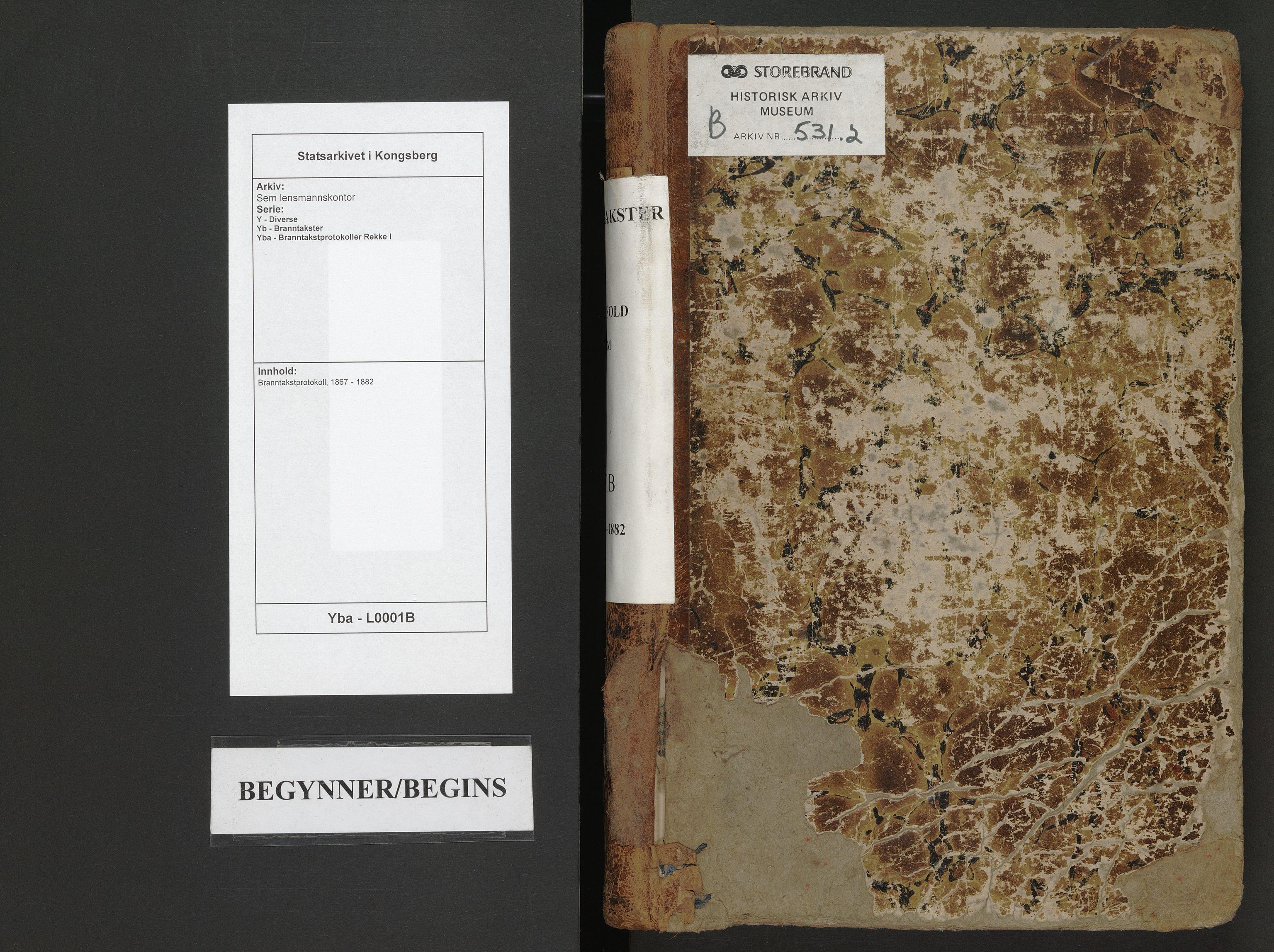 SAKO, Sem lensmannskontor, Y/Yb/Yba/L0001B: Branntakstprotokoll, 1867-1882
