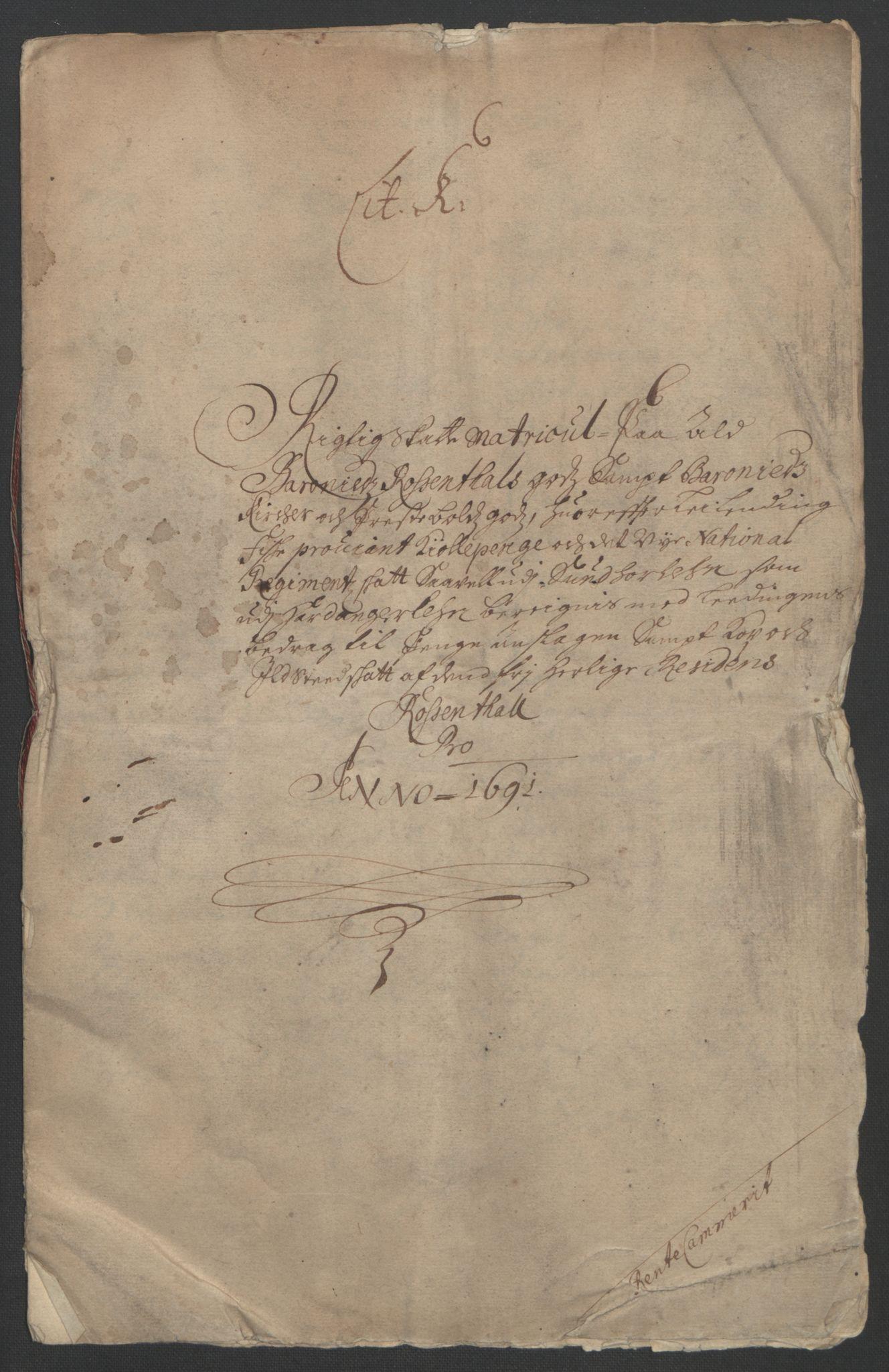 RA, Rentekammeret inntil 1814, Reviderte regnskaper, Fogderegnskap, R49/L3138: Fogderegnskap Rosendal Baroni, 1691-1714, s. 5