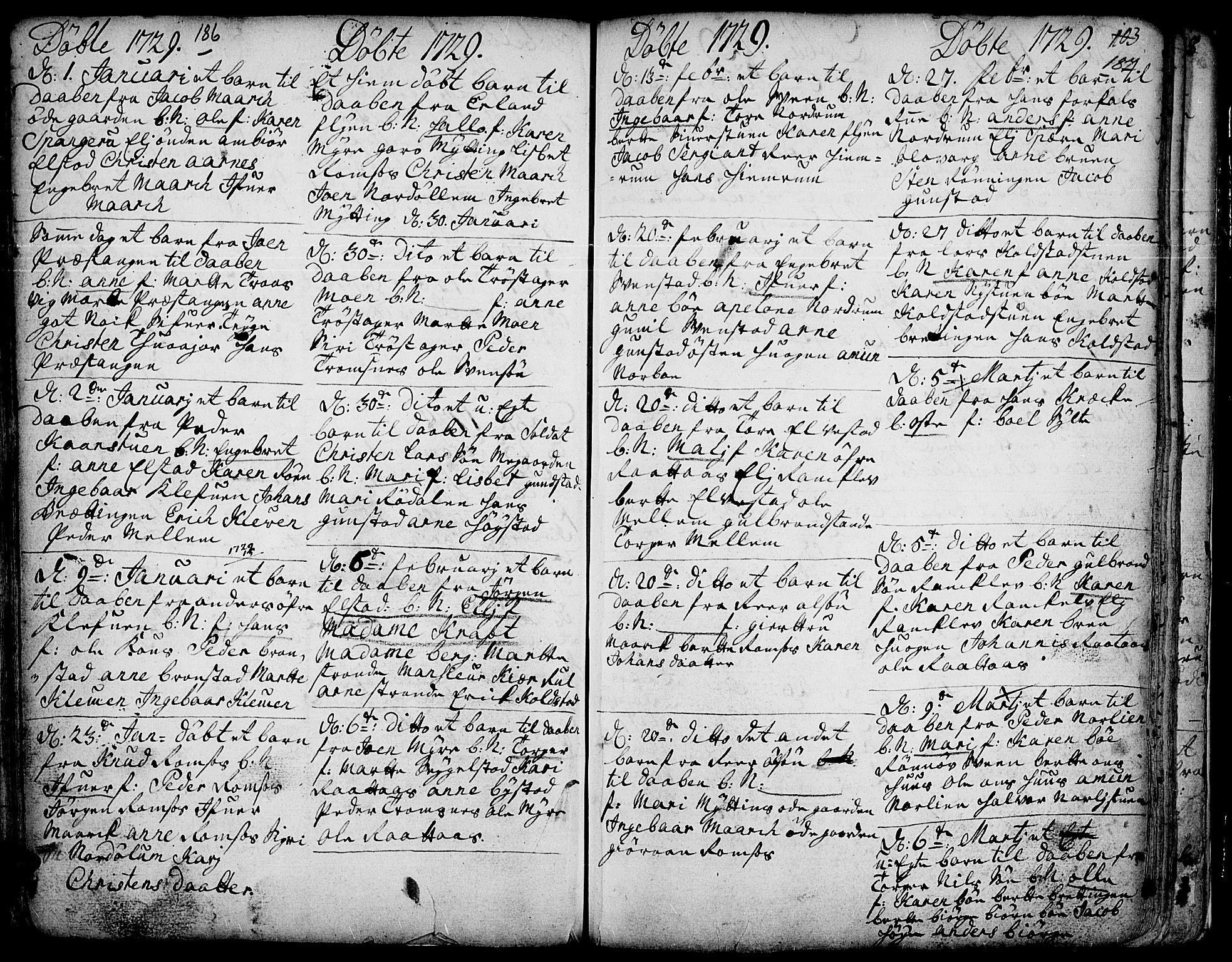 SAH, Ringebu prestekontor, Ministerialbok nr. 1, 1696-1733, s. 186-187