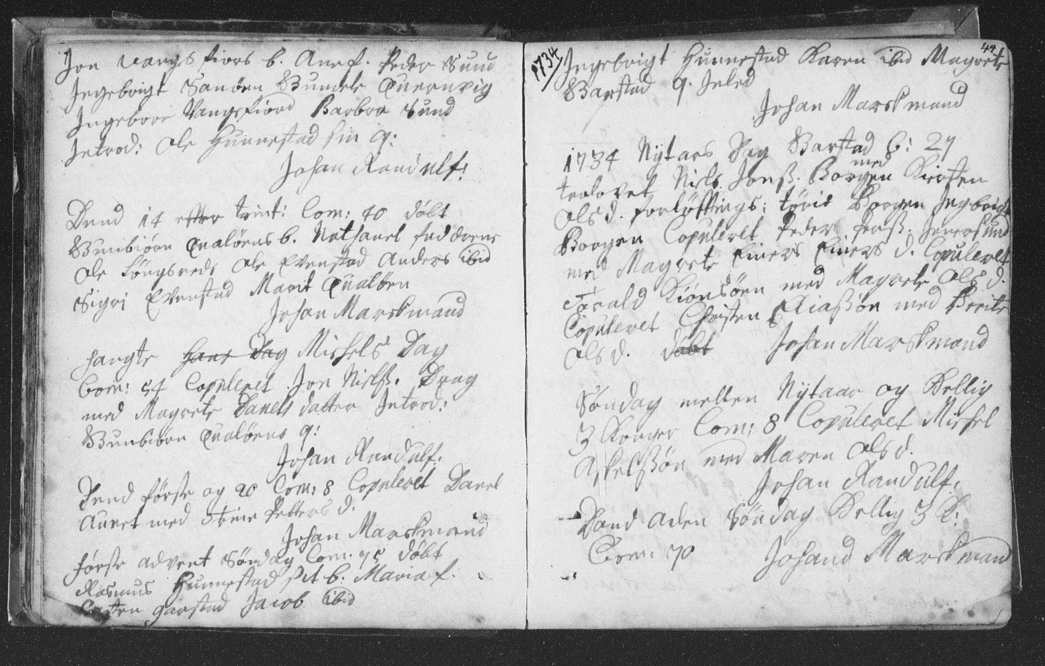 SAT, Ministerialprotokoller, klokkerbøker og fødselsregistre - Nord-Trøndelag, 786/L0685: Ministerialbok nr. 786A01, 1710-1798, s. 44