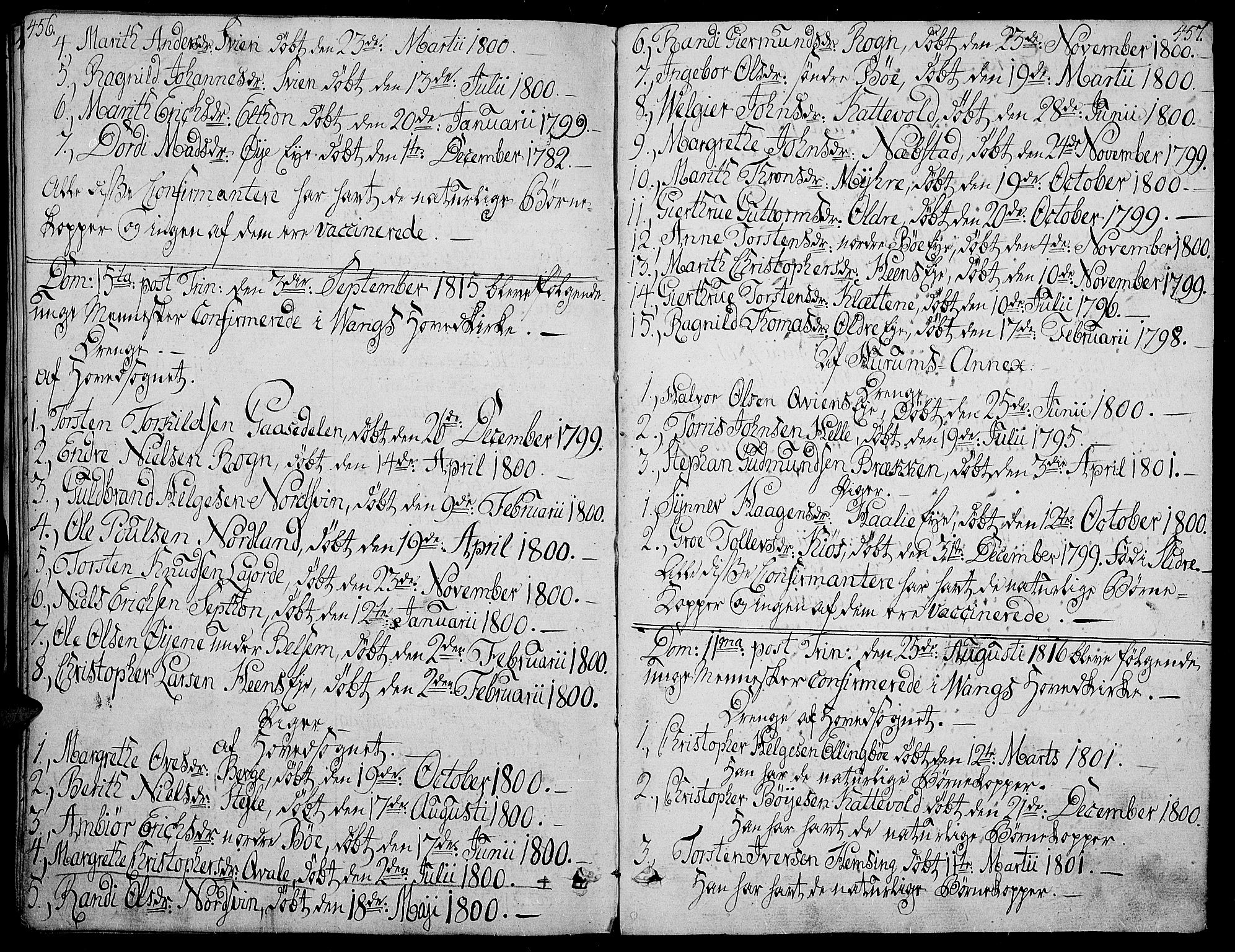 SAH, Vang prestekontor, Valdres, Ministerialbok nr. 3, 1809-1831, s. 456-457