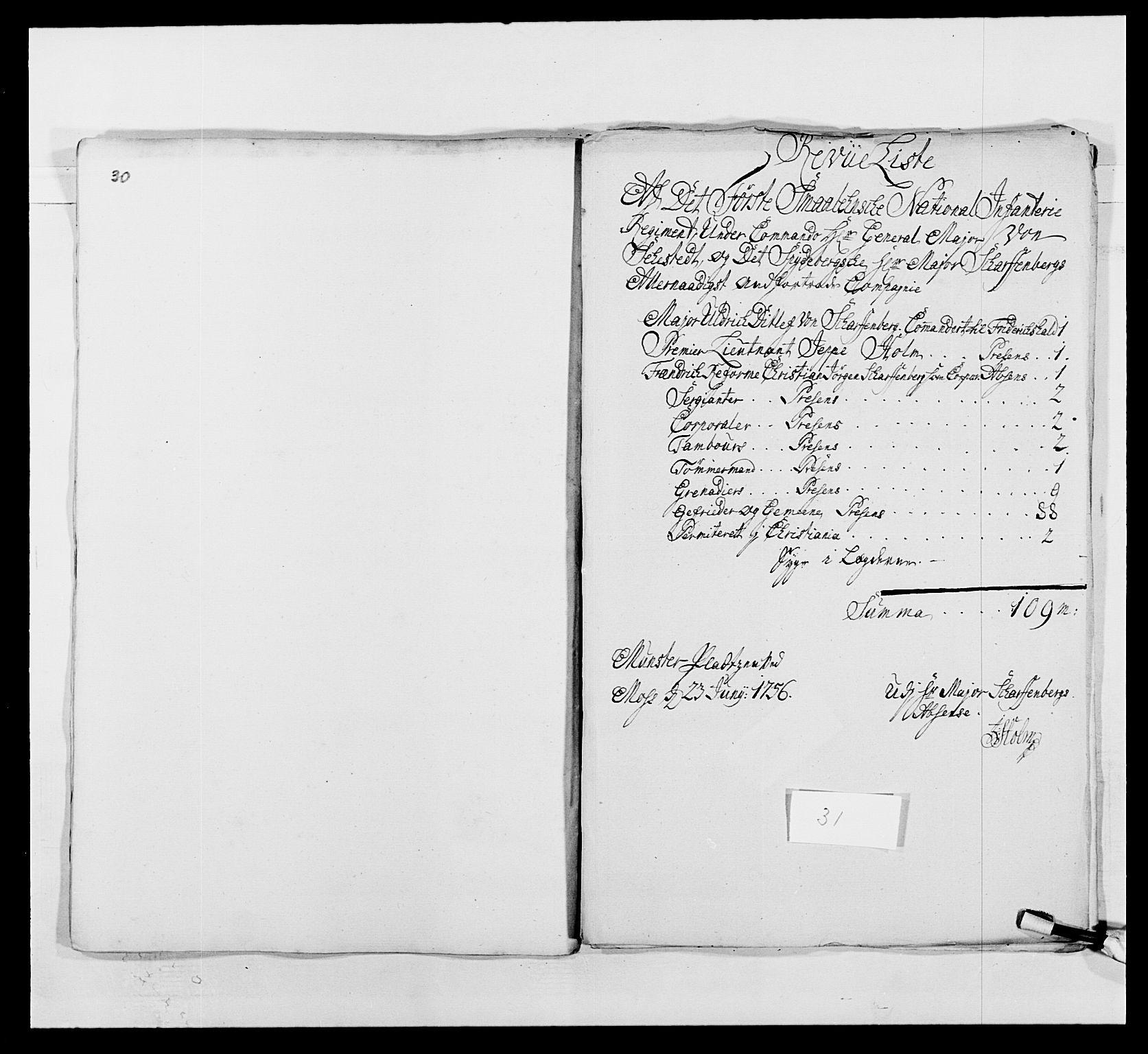 RA, Kommanderende general (KG I) med Det norske krigsdirektorium, E/Ea/L0495: 1. Smålenske regiment, 1732-1763, s. 479