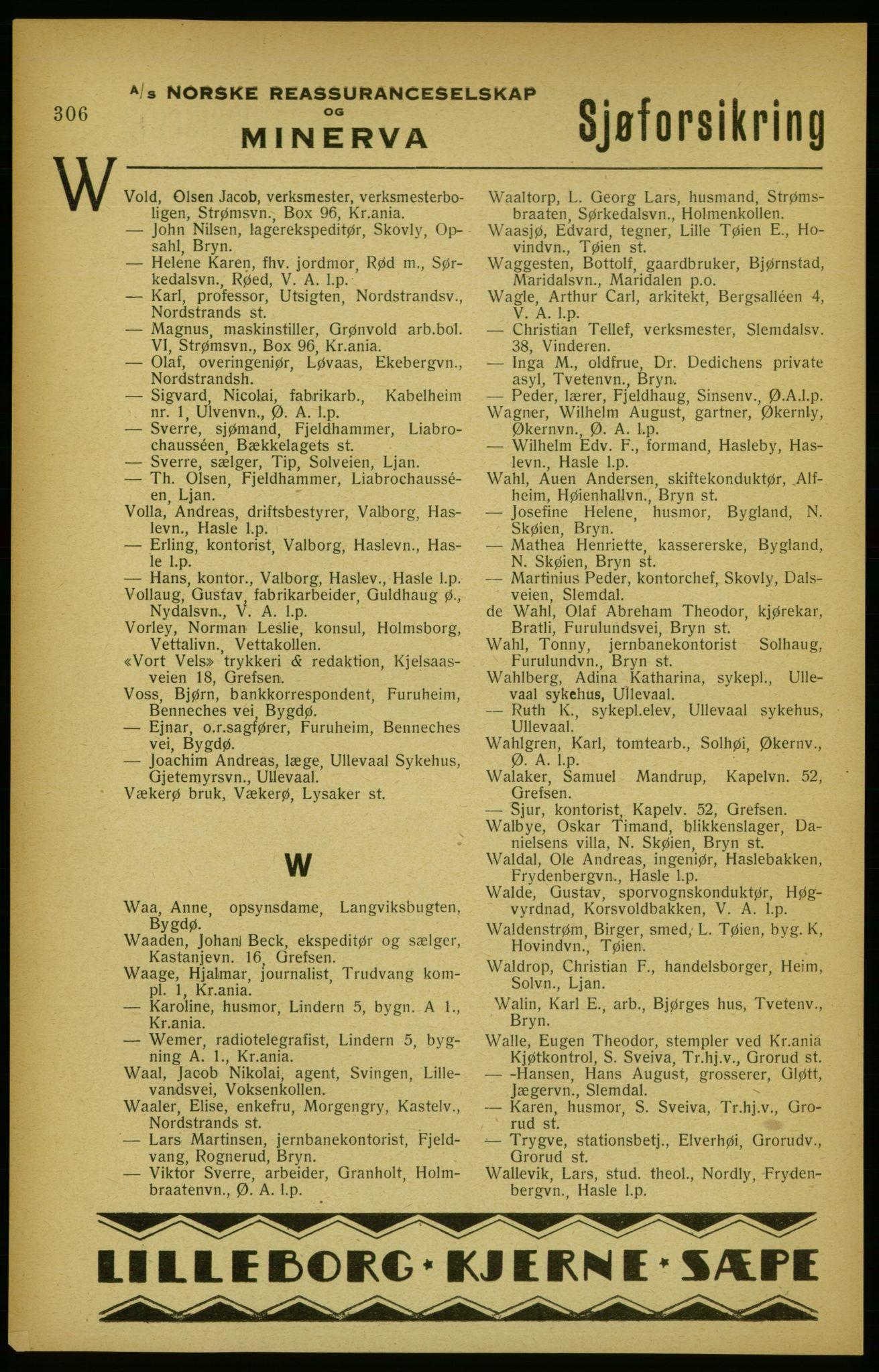 RA, Aker adressebok/adressekalender (publikasjon)*, 1922, s. 306
