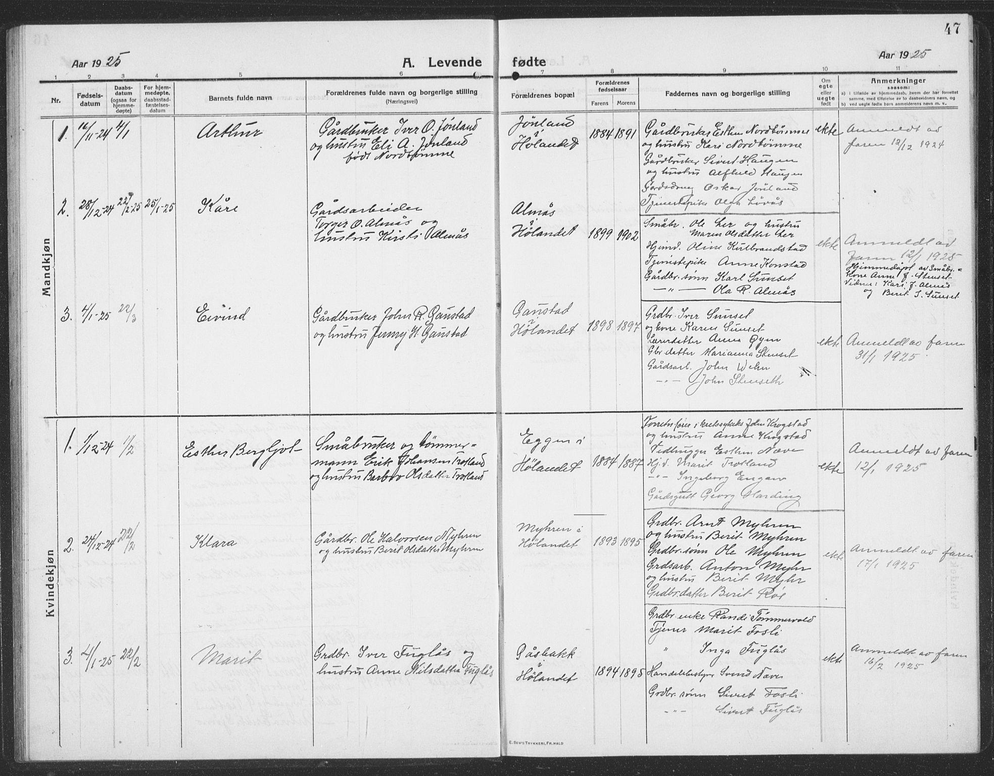 SAT, Ministerialprotokoller, klokkerbøker og fødselsregistre - Sør-Trøndelag, 694/L1134: Klokkerbok nr. 694C06, 1915-1937, s. 47