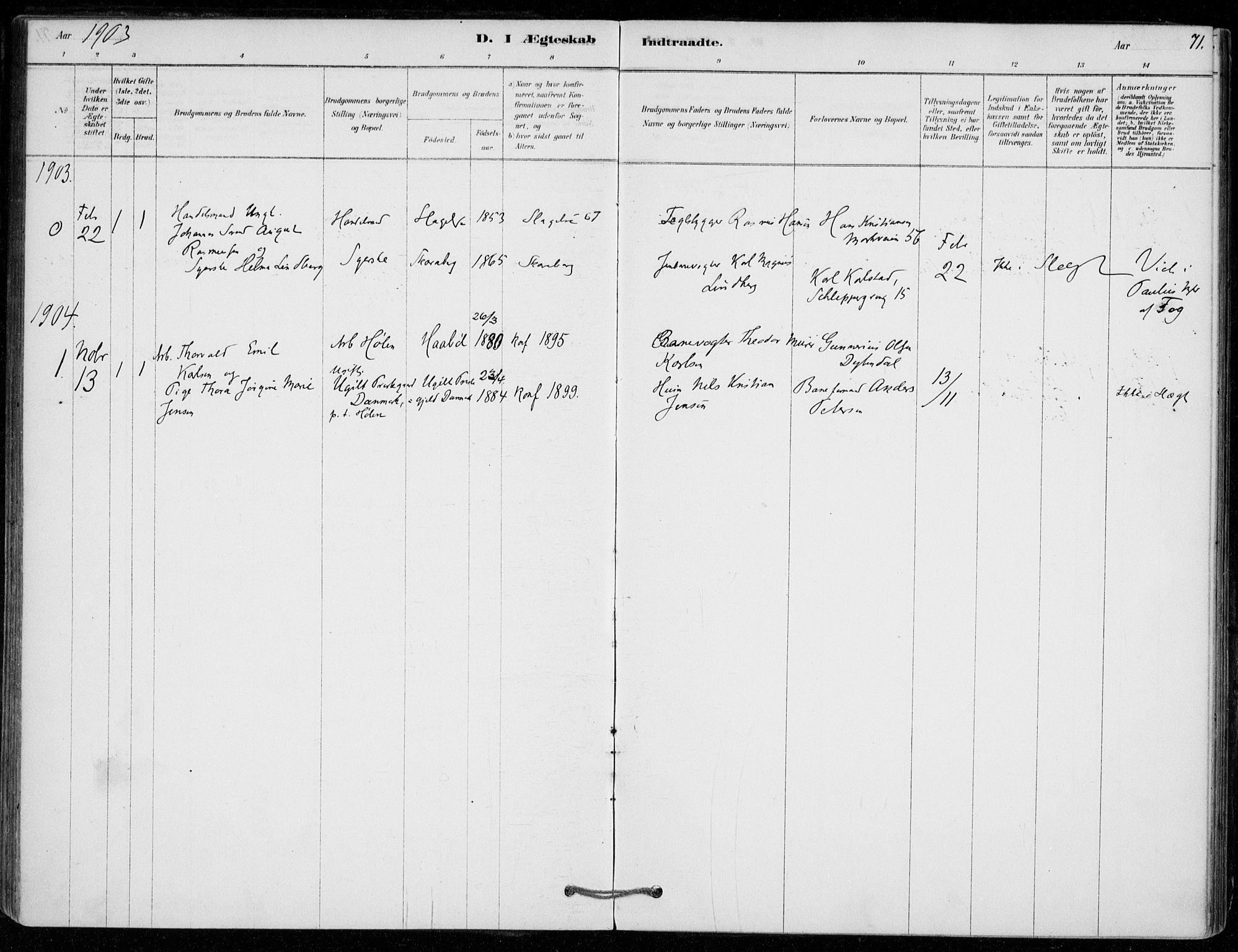 SAO, Vestby prestekontor Kirkebøker, F/Fe/L0001: Ministerialbok nr. V 1, 1878-1931, s. 71