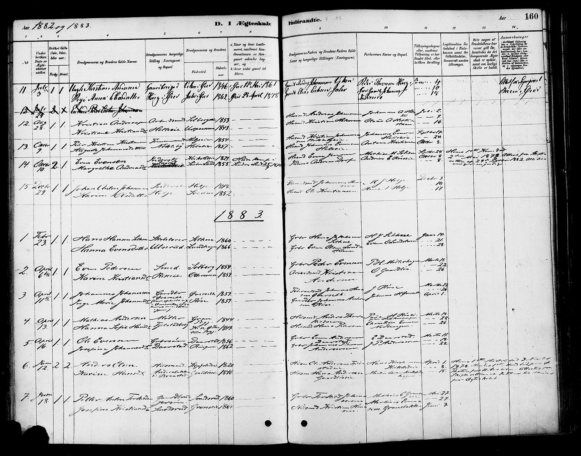 SAH, Vestre Toten prestekontor, Ministerialbok nr. 10, 1878-1894, s. 160