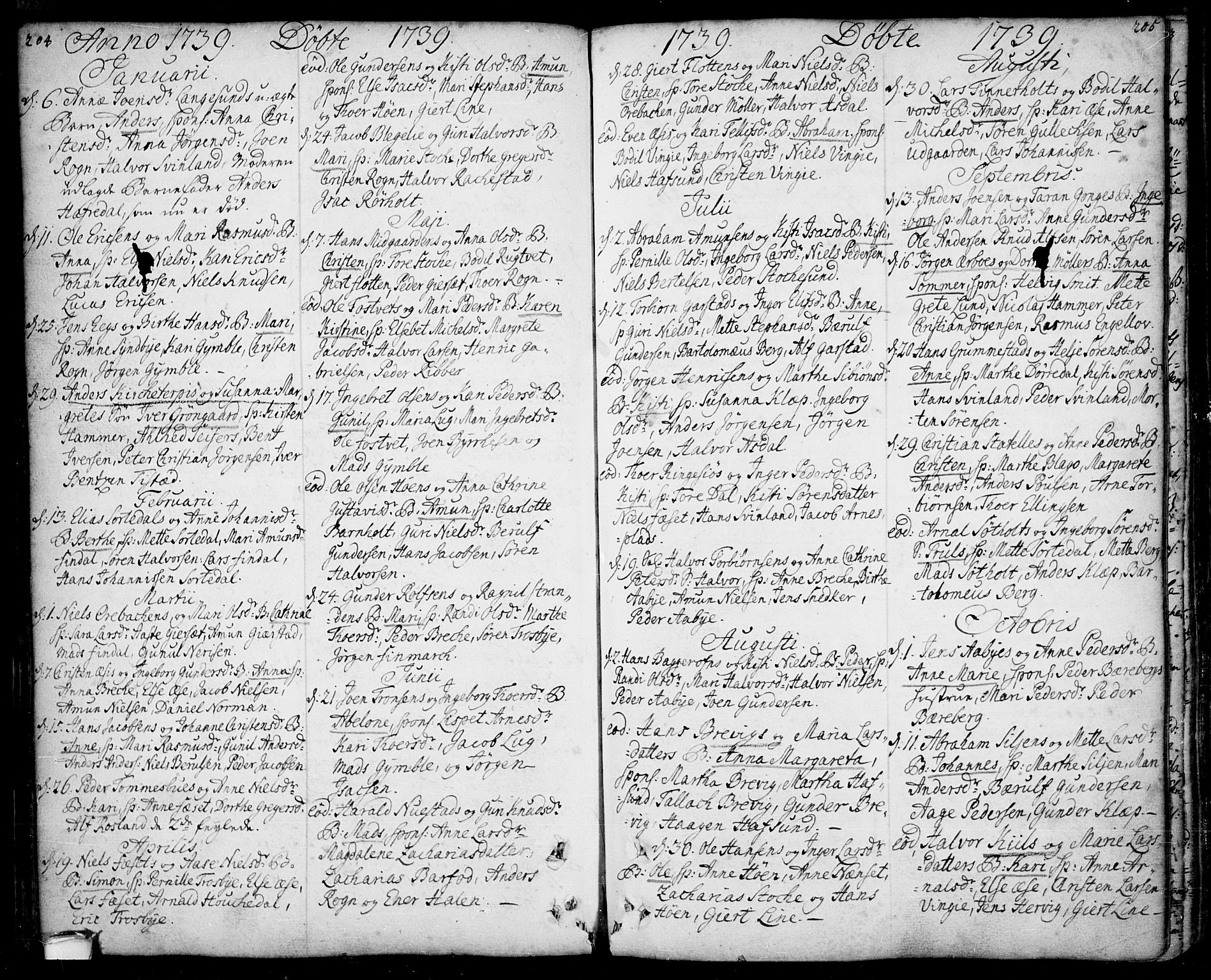 SAKO, Bamble kirkebøker, F/Fa/L0001: Ministerialbok nr. I 1, 1702-1774, s. 204-205