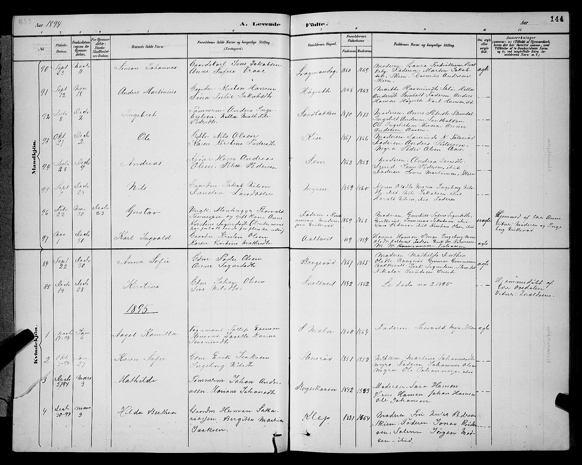 SAKO, Gjerpen kirkebøker, G/Ga/L0002: Klokkerbok nr. I 2, 1883-1900, s. 144