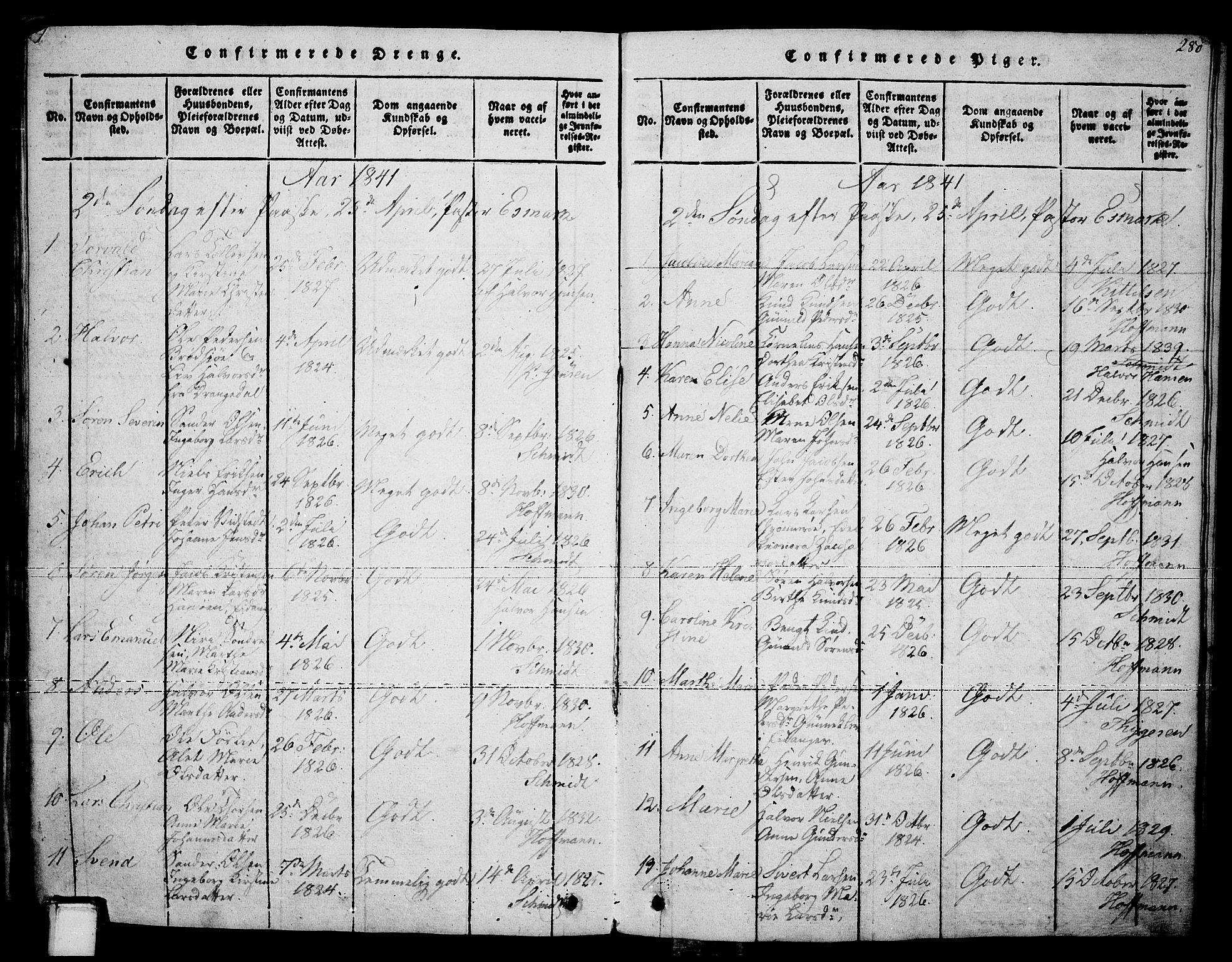 SAKO, Brevik kirkebøker, F/Fa/L0004: Ministerialbok nr. 4, 1814-1846, s. 280