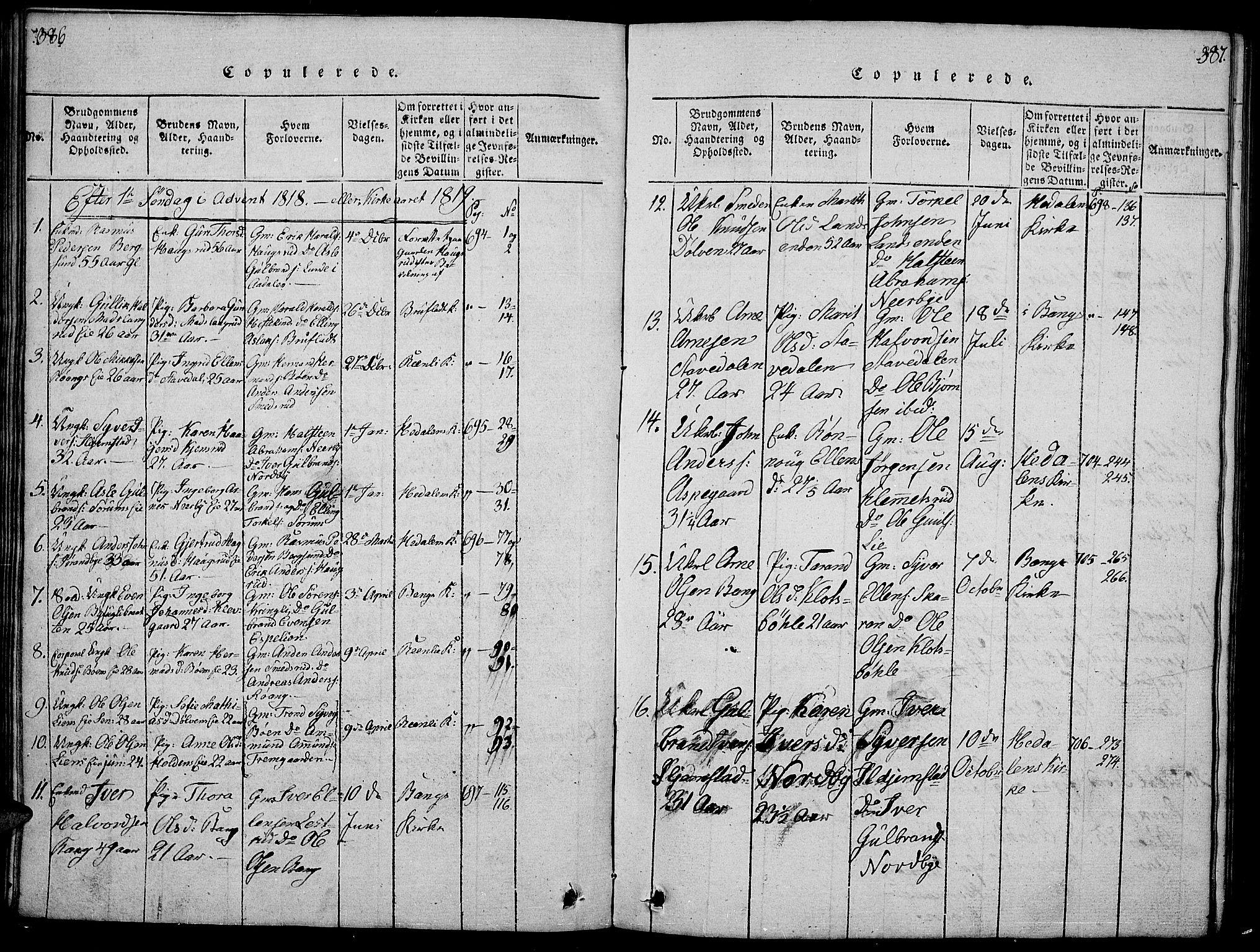 SAH, Sør-Aurdal prestekontor, Klokkerbok nr. 1, 1815-1826, s. 386-387