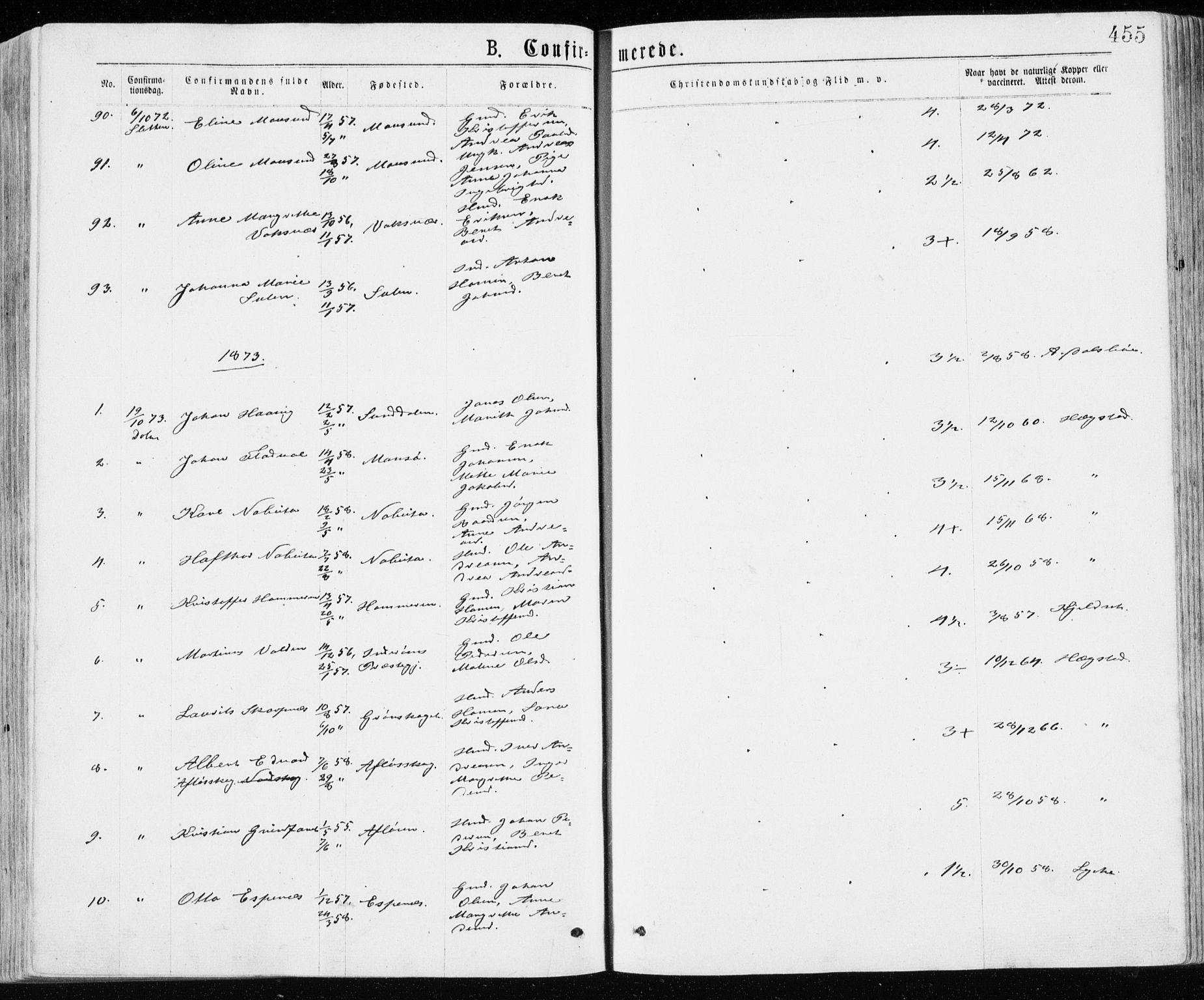 SAT, Ministerialprotokoller, klokkerbøker og fødselsregistre - Sør-Trøndelag, 640/L0576: Ministerialbok nr. 640A01, 1846-1876, s. 455