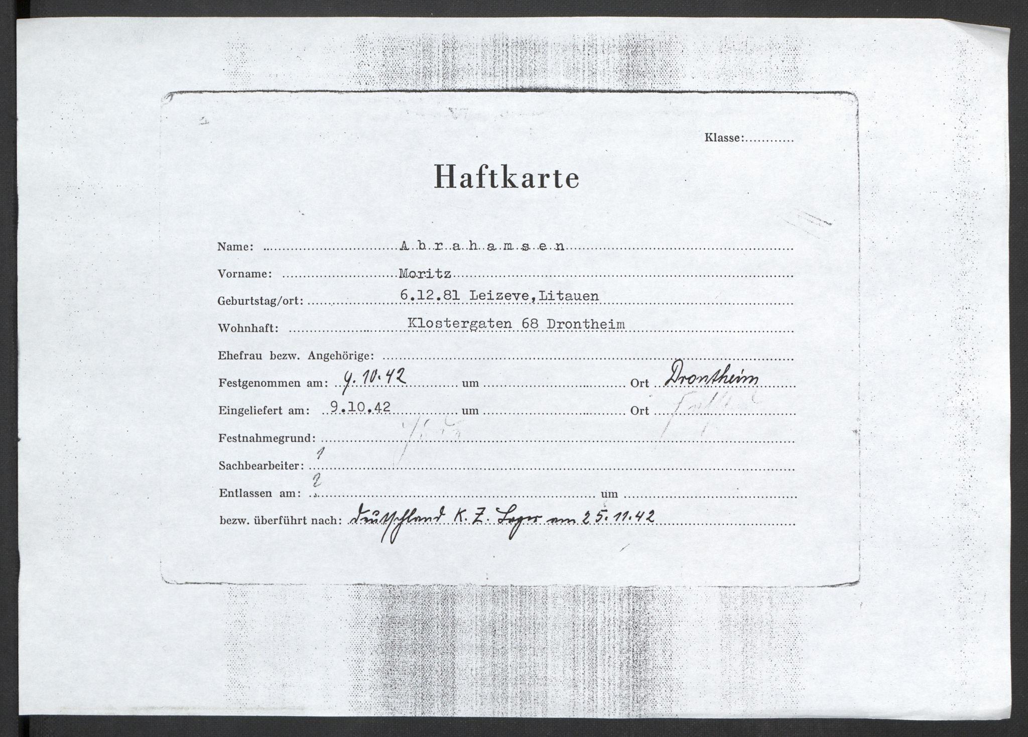 RA, Befehlshaber der Sicherheitspolizei und des SD, F/Fc/L0019: Kopier av diverse fangekort + kopier av to dommer mot nordmenn ved Reichskriegsgericht i Berlin, 1941-1945