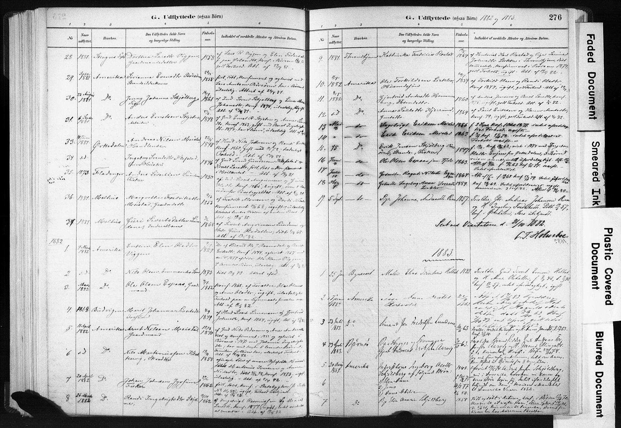 SAT, Ministerialprotokoller, klokkerbøker og fødselsregistre - Sør-Trøndelag, 665/L0773: Ministerialbok nr. 665A08, 1879-1905, s. 276