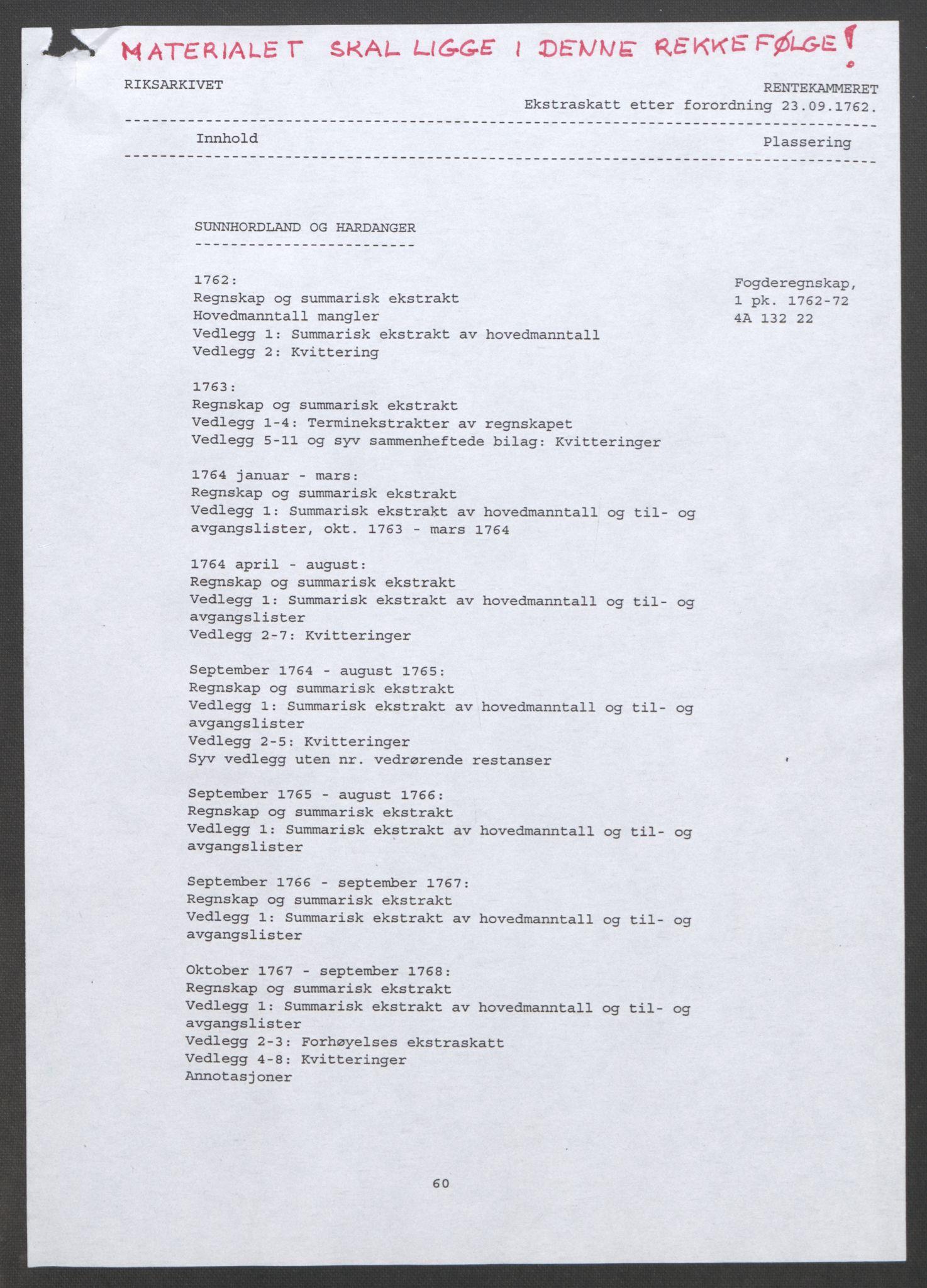 RA, Rentekammeret inntil 1814, Reviderte regnskaper, Fogderegnskap, R48/L3136: Ekstraskatten Sunnhordland og Hardanger, 1762-1772, s. 2