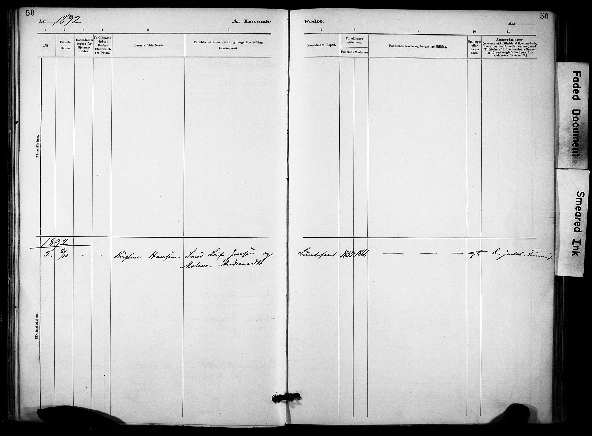 SAKO, Lunde kirkebøker, F/Fa/L0002: Ministerialbok nr. I 2, 1884-1892, s. 50