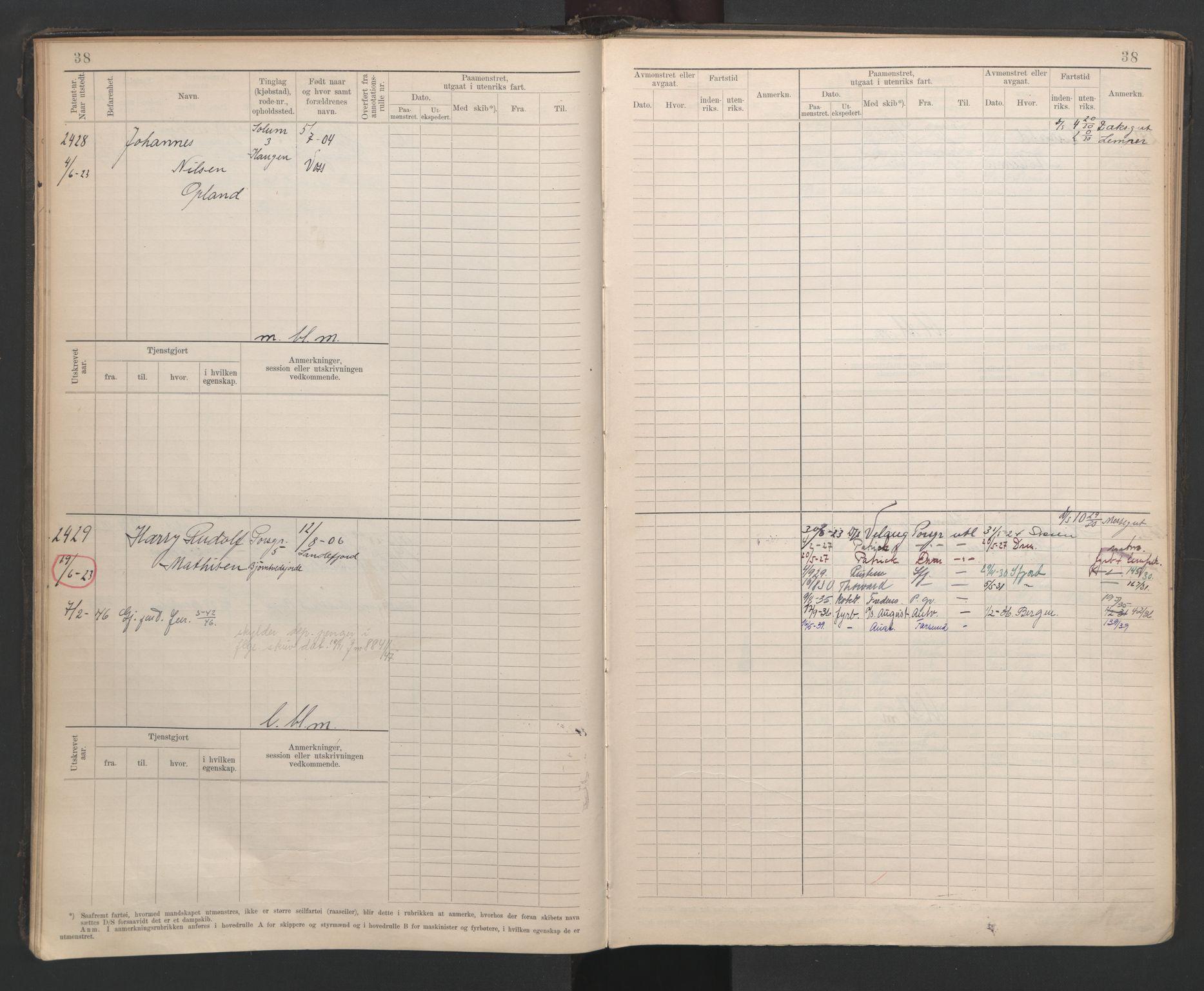 SAKO, Porsgrunn innrulleringskontor, F/Fb/L0007: Annotasjonsrulle, 1926-1948, s. 37
