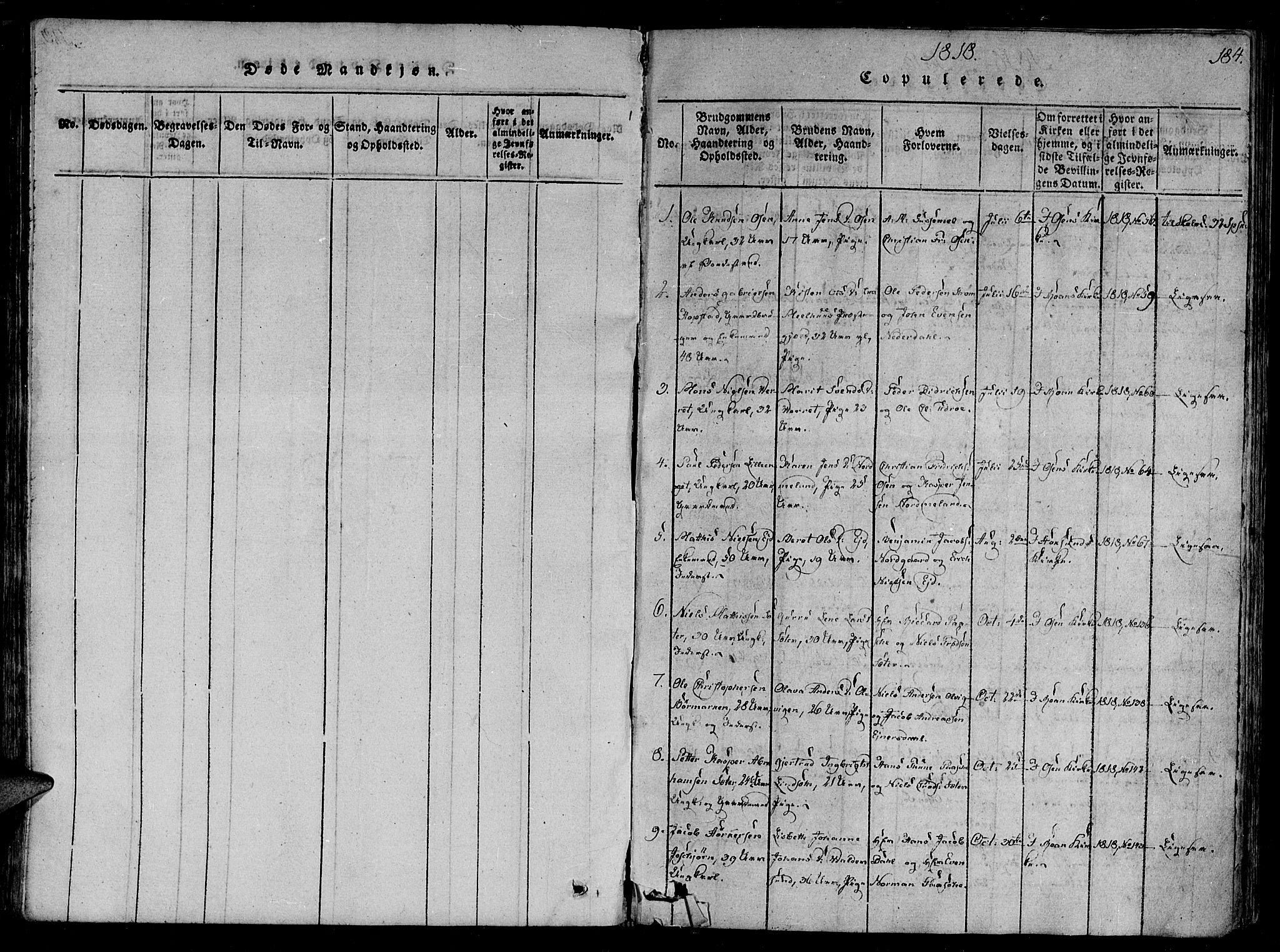 SAT, Ministerialprotokoller, klokkerbøker og fødselsregistre - Sør-Trøndelag, 657/L0702: Ministerialbok nr. 657A03, 1818-1831, s. 184