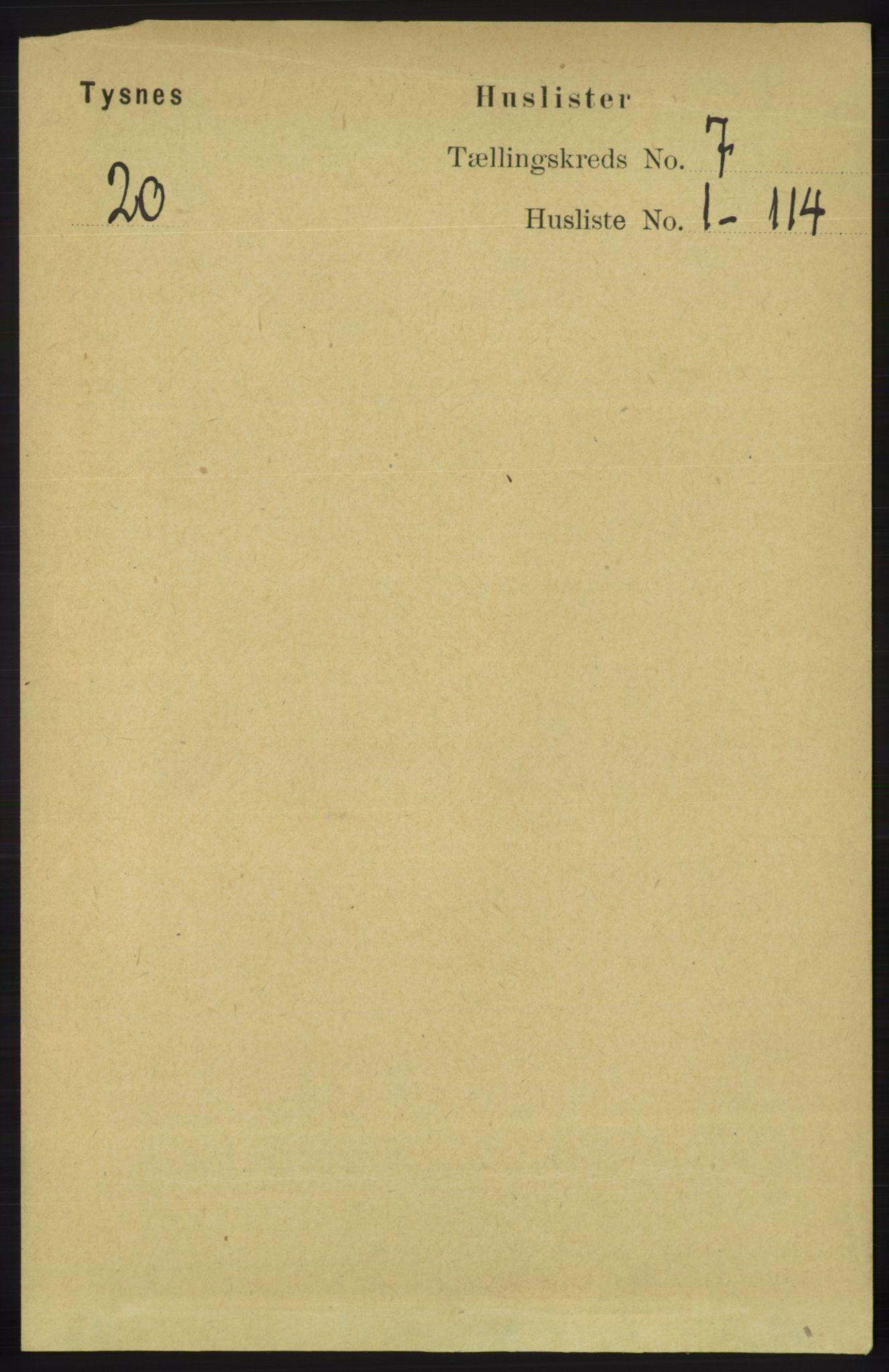 RA, Folketelling 1891 for 1223 Tysnes herred, 1891, s. 2760