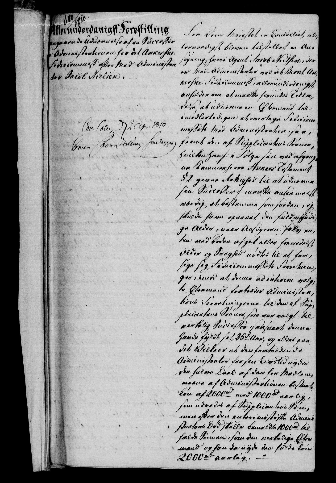 RA, Danske Kanselli 1800-1814, H/Hf/Hfa/Hfab/L0011: Forestillinger, 1810, s. 1a