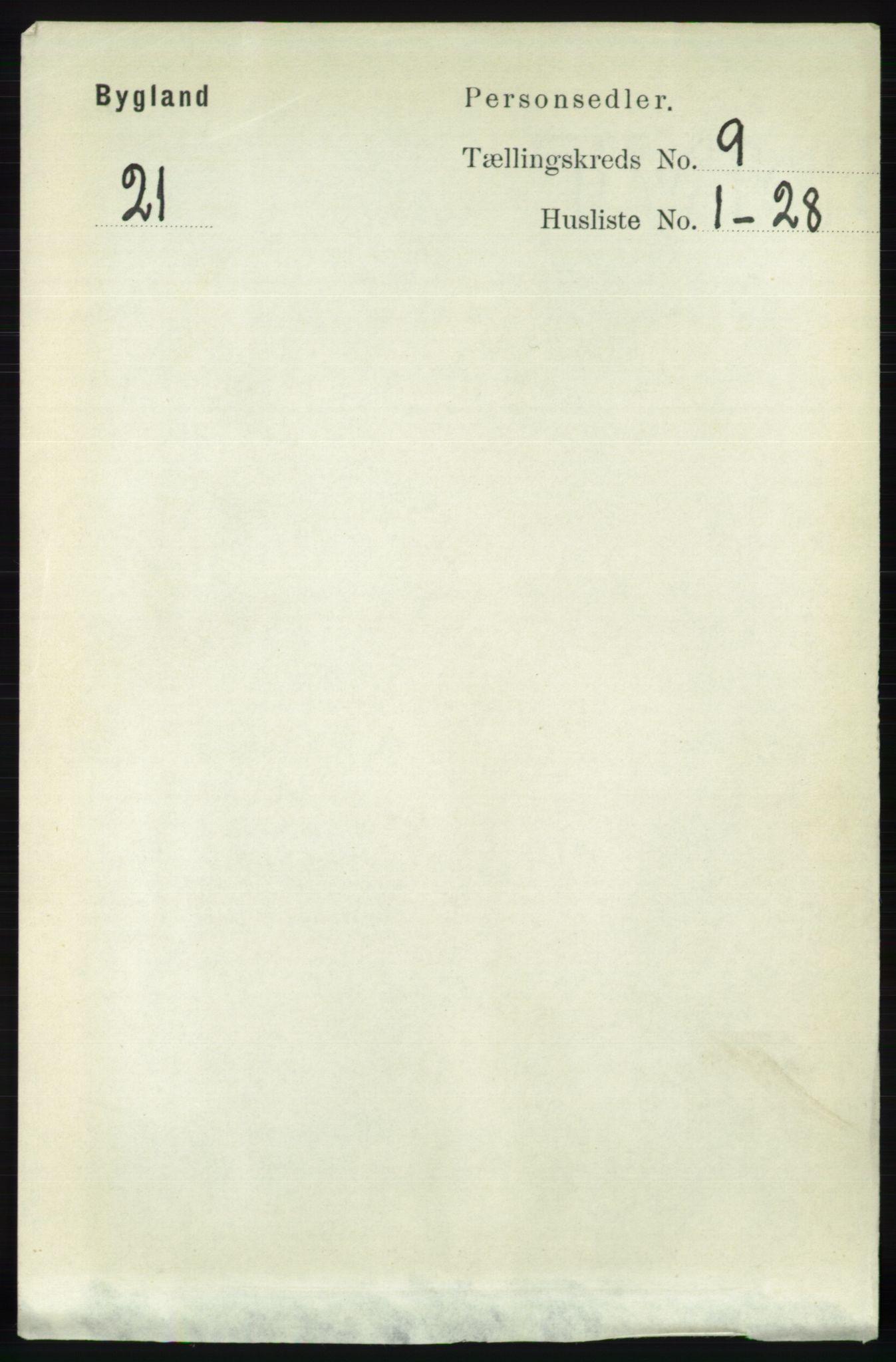 RA, Folketelling 1891 for 0938 Bygland herred, 1891, s. 2251