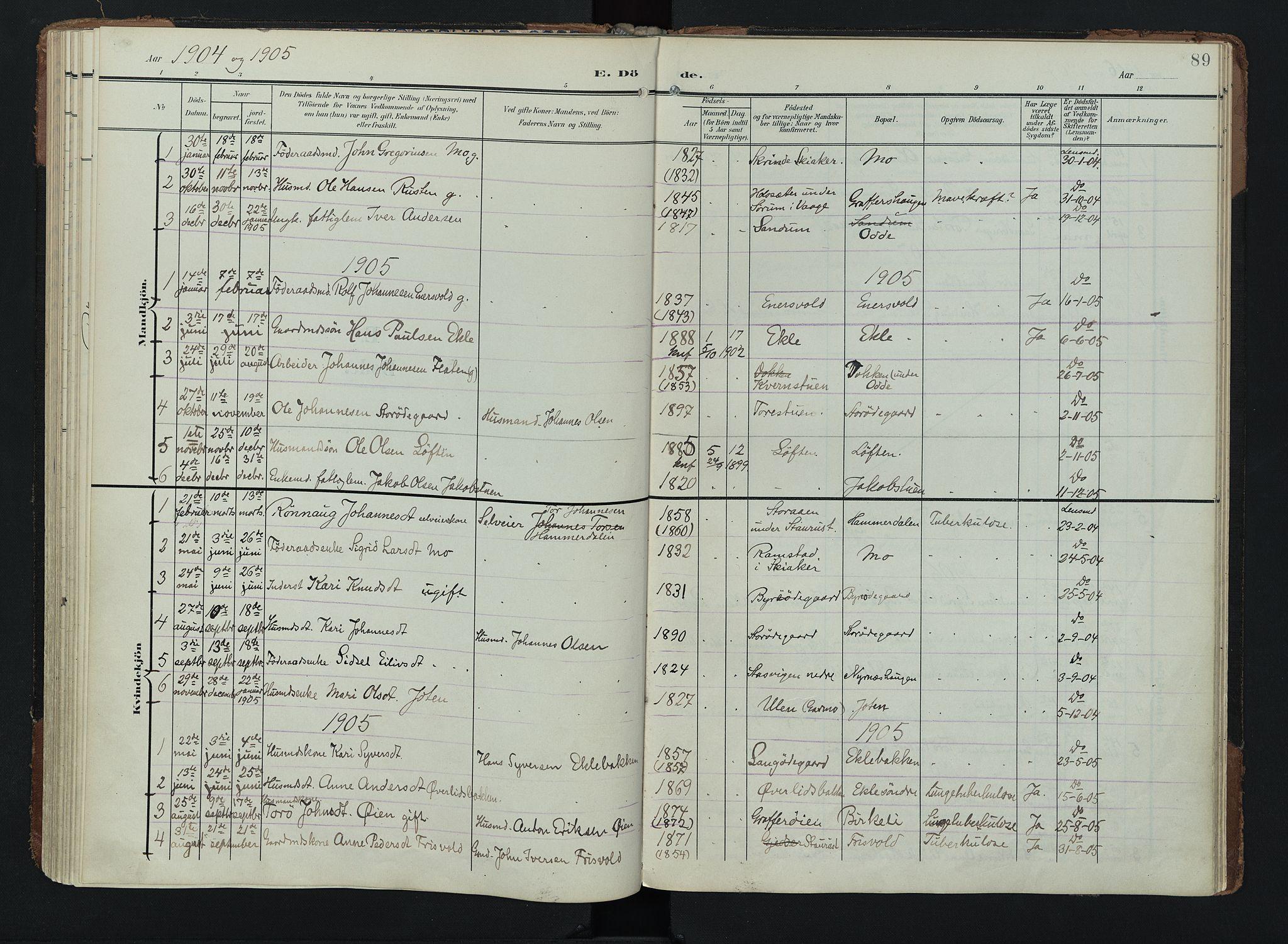 SAH, Lom prestekontor, K/L0011: Ministerialbok nr. 11, 1904-1928, s. 89