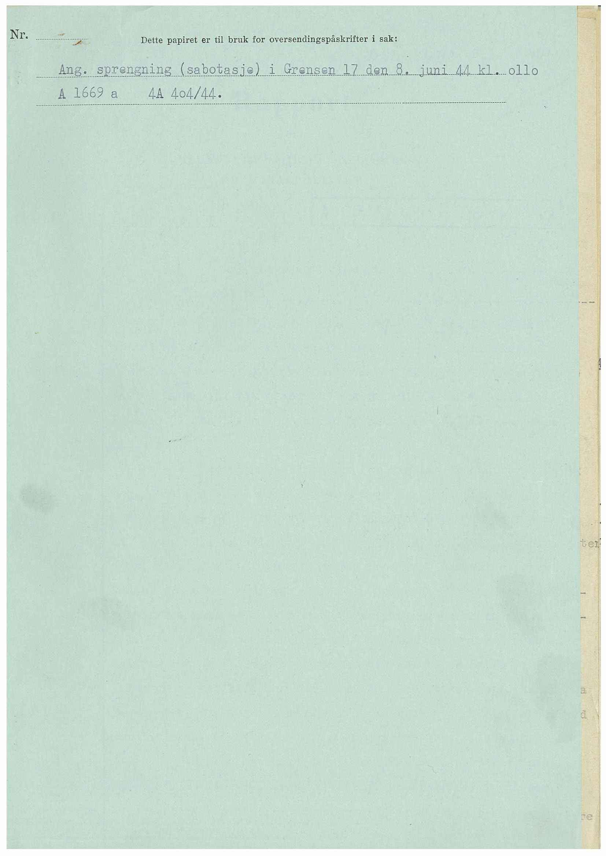 RA, Statspolitiet - Hovedkontoret / Osloavdelingen, D/Dc/Dca/L0099: SPA-a journalsaker jnr. 1601-1769, 1944, s. 1