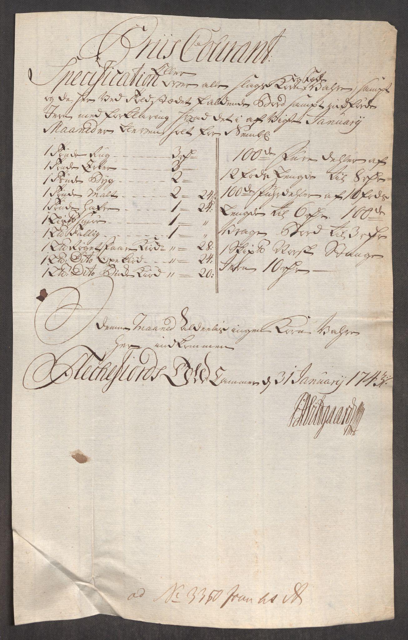 RA, Rentekammeret inntil 1814, Realistisk ordnet avdeling, Oe/L0002: [Ø1]: Priskuranter, 1740-1744, s. 806