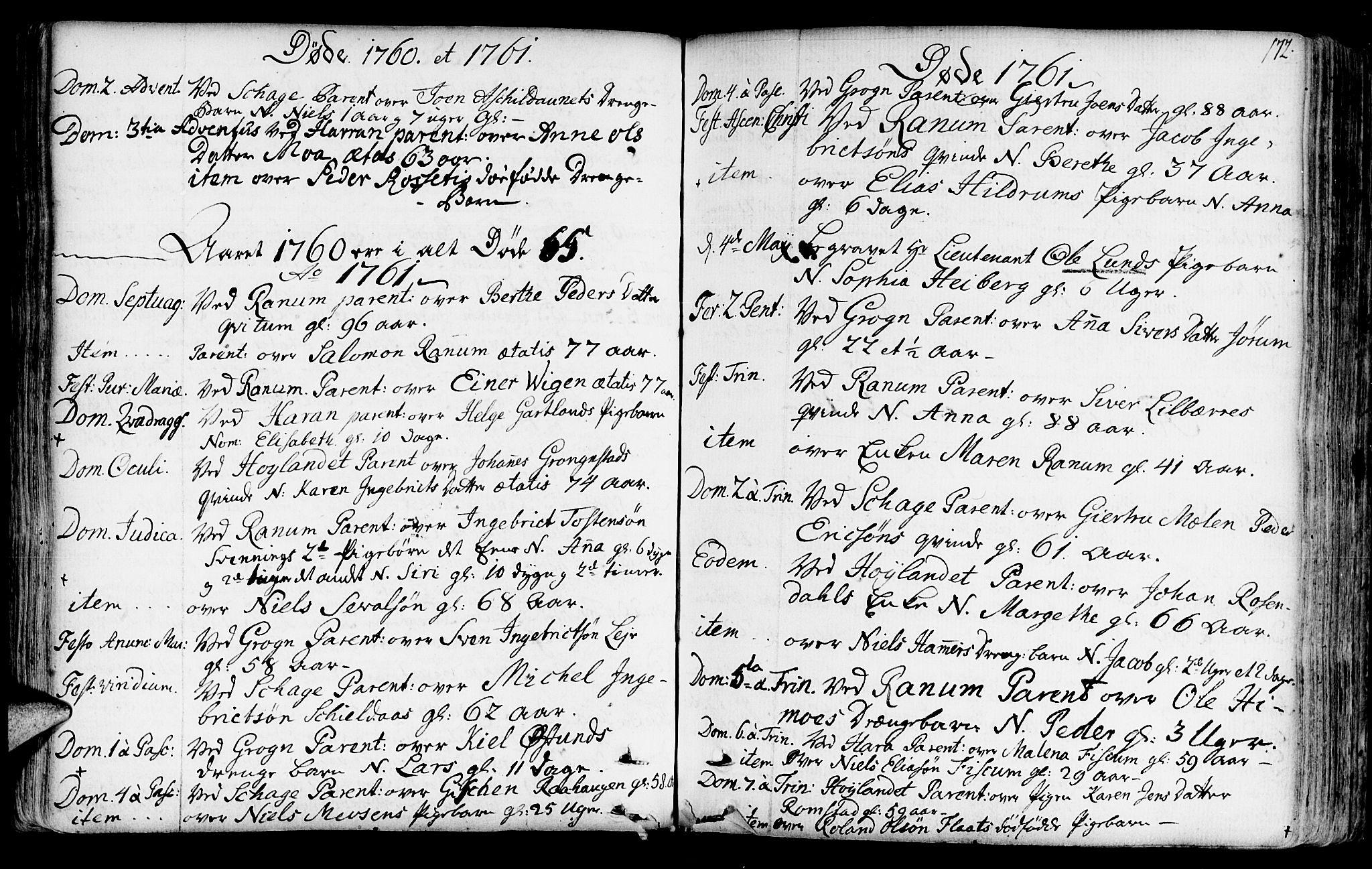 SAT, Ministerialprotokoller, klokkerbøker og fødselsregistre - Nord-Trøndelag, 764/L0542: Ministerialbok nr. 764A02, 1748-1779, s. 172