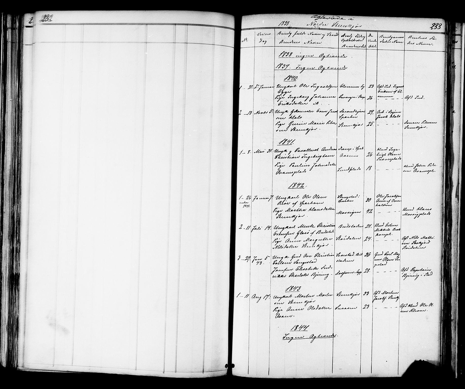 SAT, Ministerialprotokoller, klokkerbøker og fødselsregistre - Nord-Trøndelag, 739/L0367: Ministerialbok nr. 739A01 /2, 1838-1868, s. 232-233