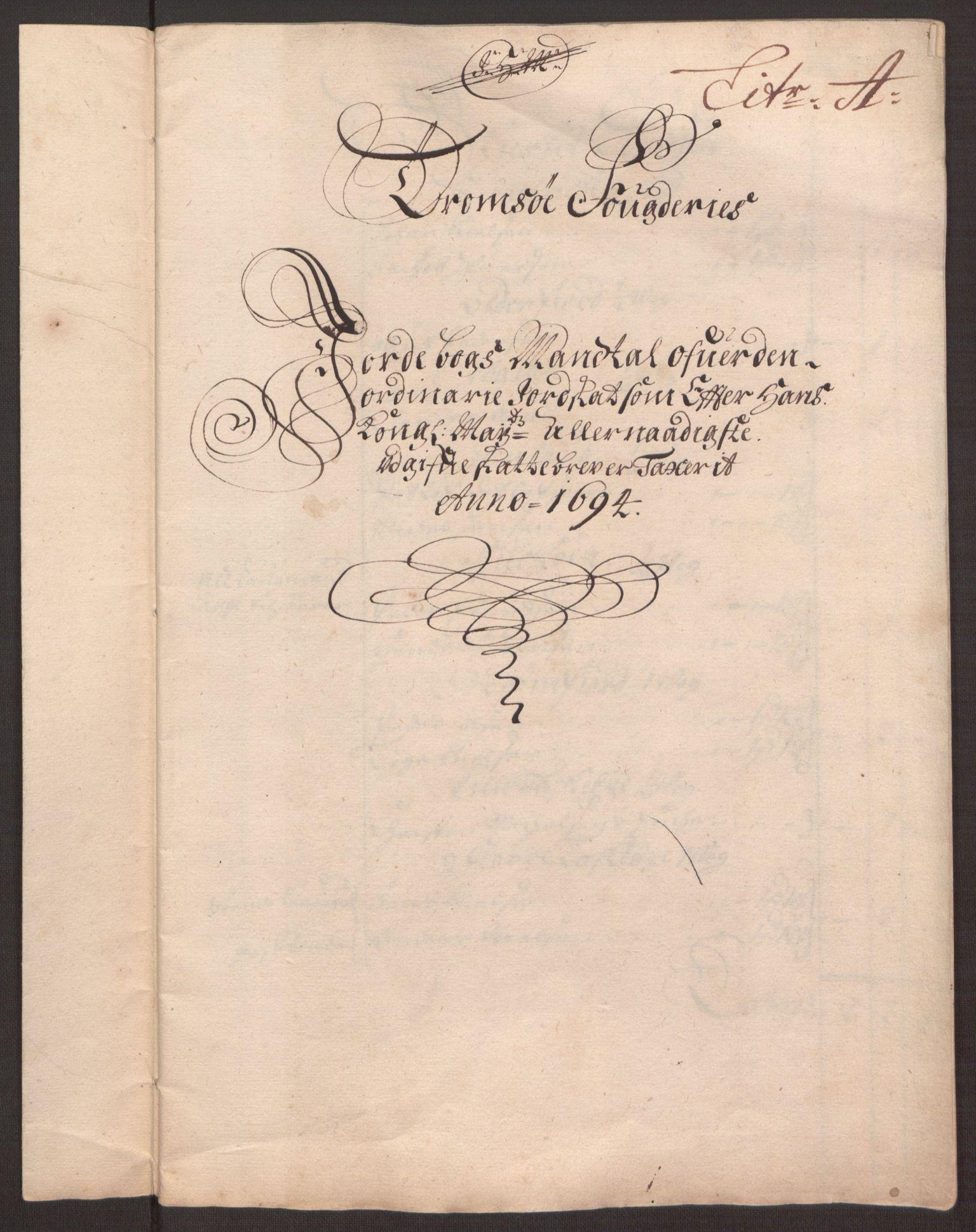 RA, Rentekammeret inntil 1814, Reviderte regnskaper, Fogderegnskap, R68/L4753: Fogderegnskap Senja og Troms, 1694-1696, s. 179