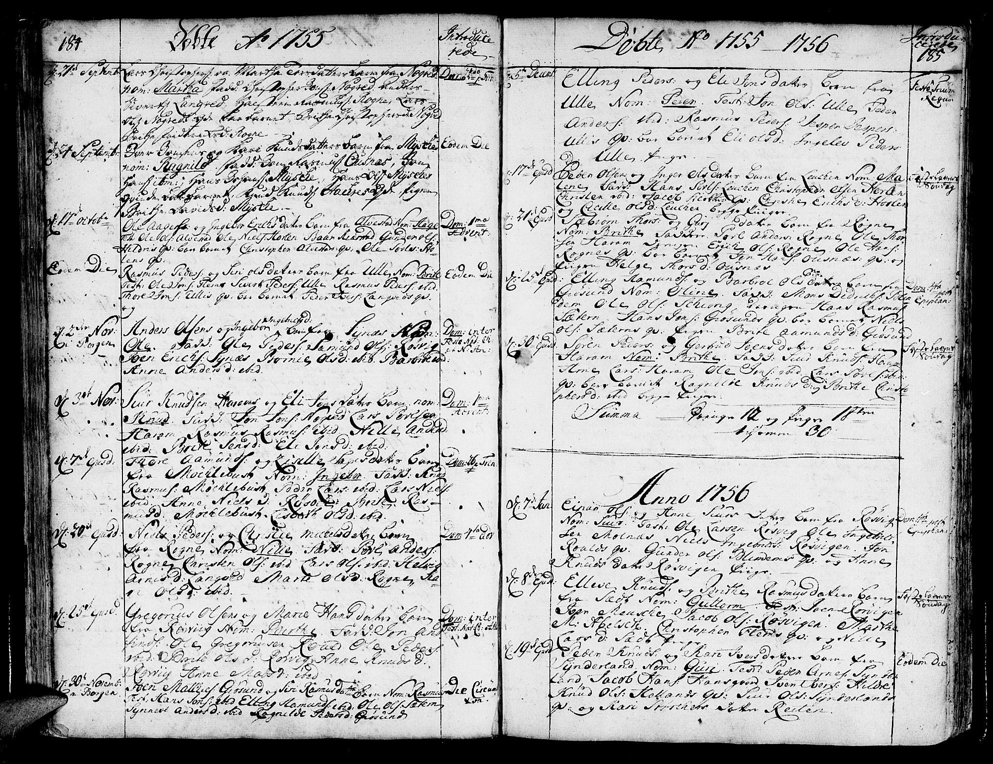 SAT, Ministerialprotokoller, klokkerbøker og fødselsregistre - Møre og Romsdal, 536/L0493: Ministerialbok nr. 536A02, 1739-1802, s. 184-185