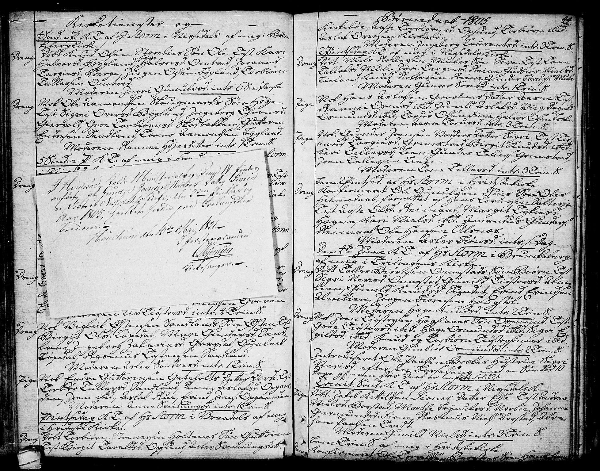 SAKO, Kviteseid kirkebøker, F/Fa/L0004: Ministerialbok nr. I 4, 1800-1814, s. 44