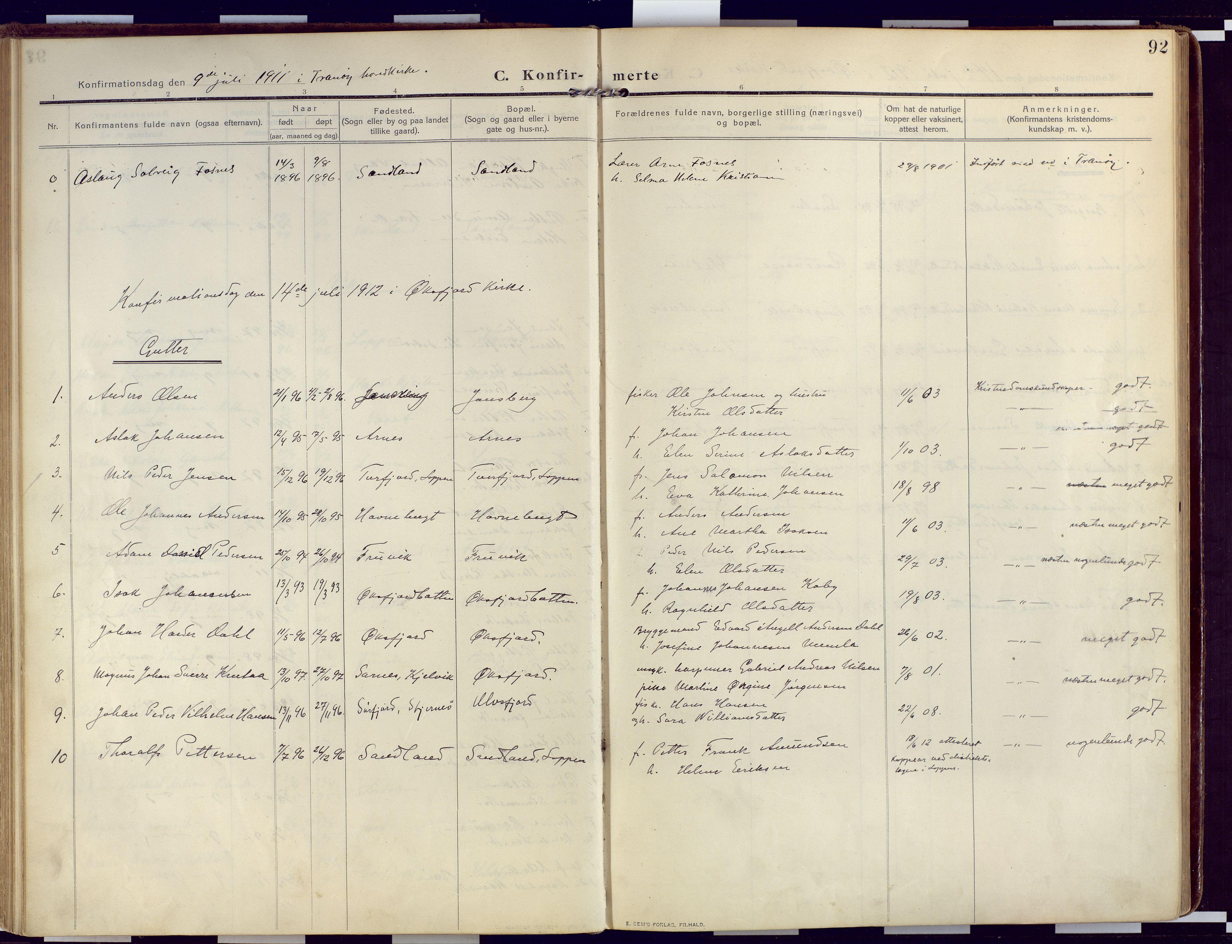 SATØ, Loppa sokneprestkontor, H/Ha/L0011kirke: Ministerialbok nr. 11, 1909-1919, s. 92