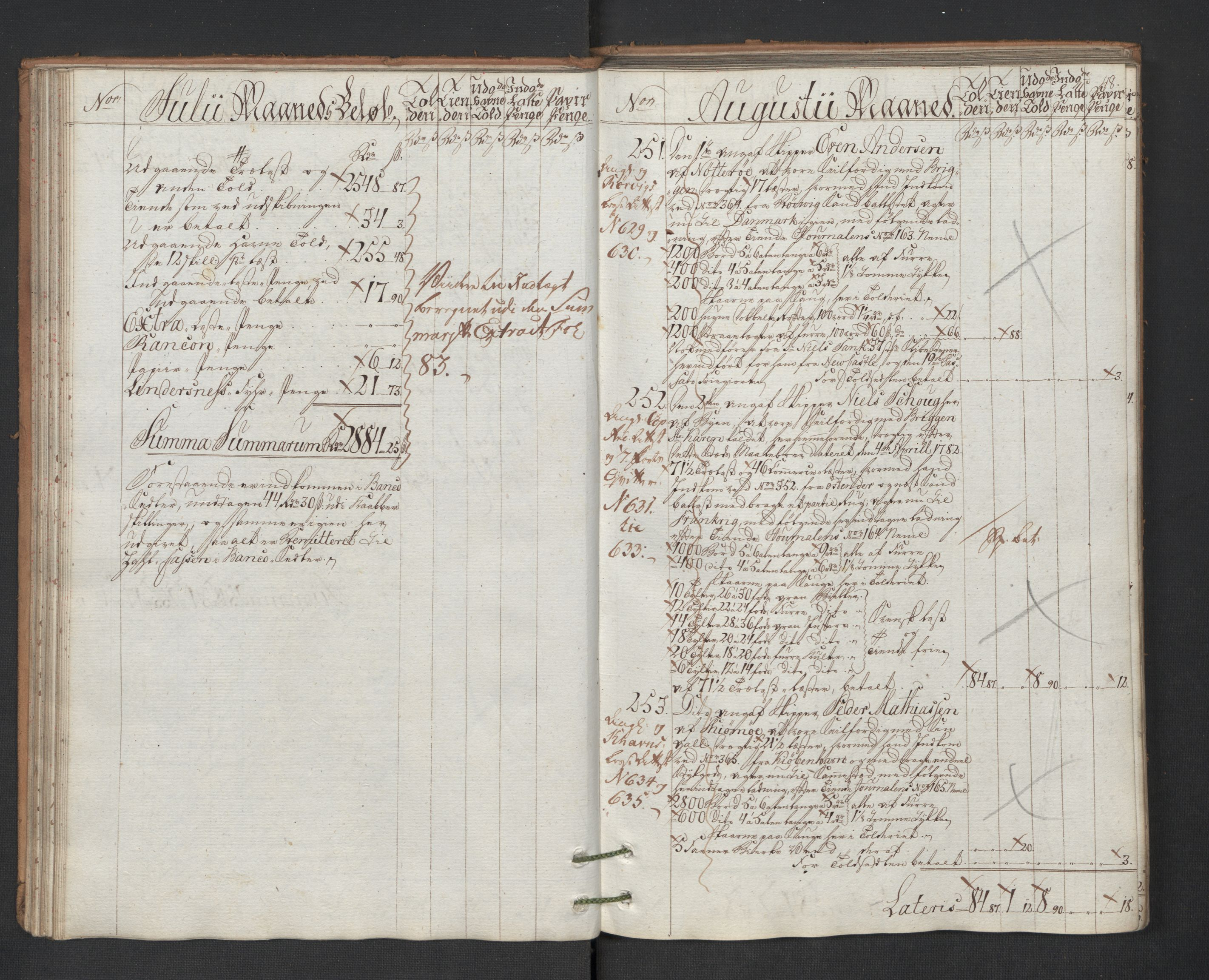 RA, Generaltollkammeret, tollregnskaper, R01/L0131: Tollregnskaper Fredrikshald, 1786, s. 47b-48a