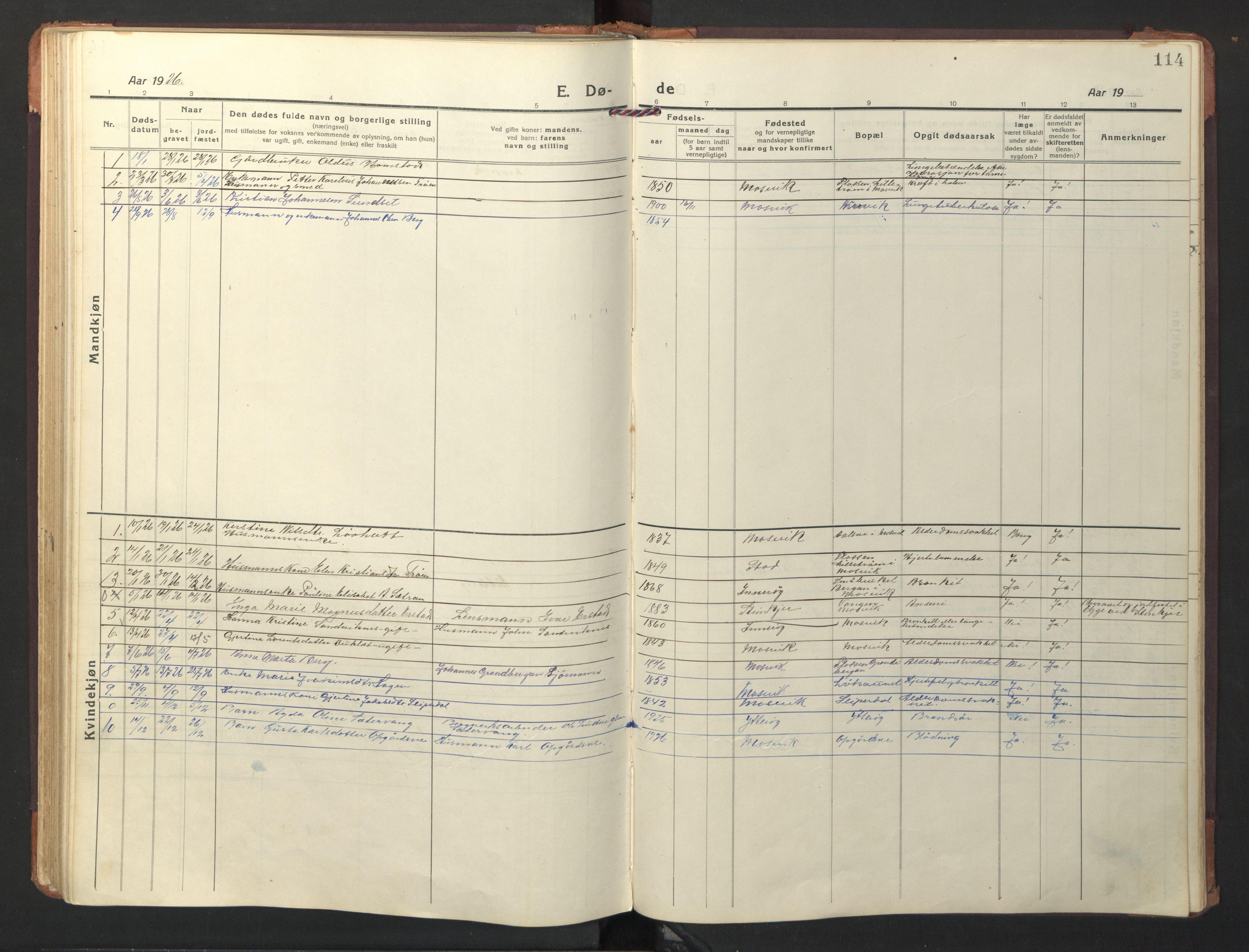SAT, Ministerialprotokoller, klokkerbøker og fødselsregistre - Nord-Trøndelag, 733/L0328: Klokkerbok nr. 733C03, 1919-1966, s. 114