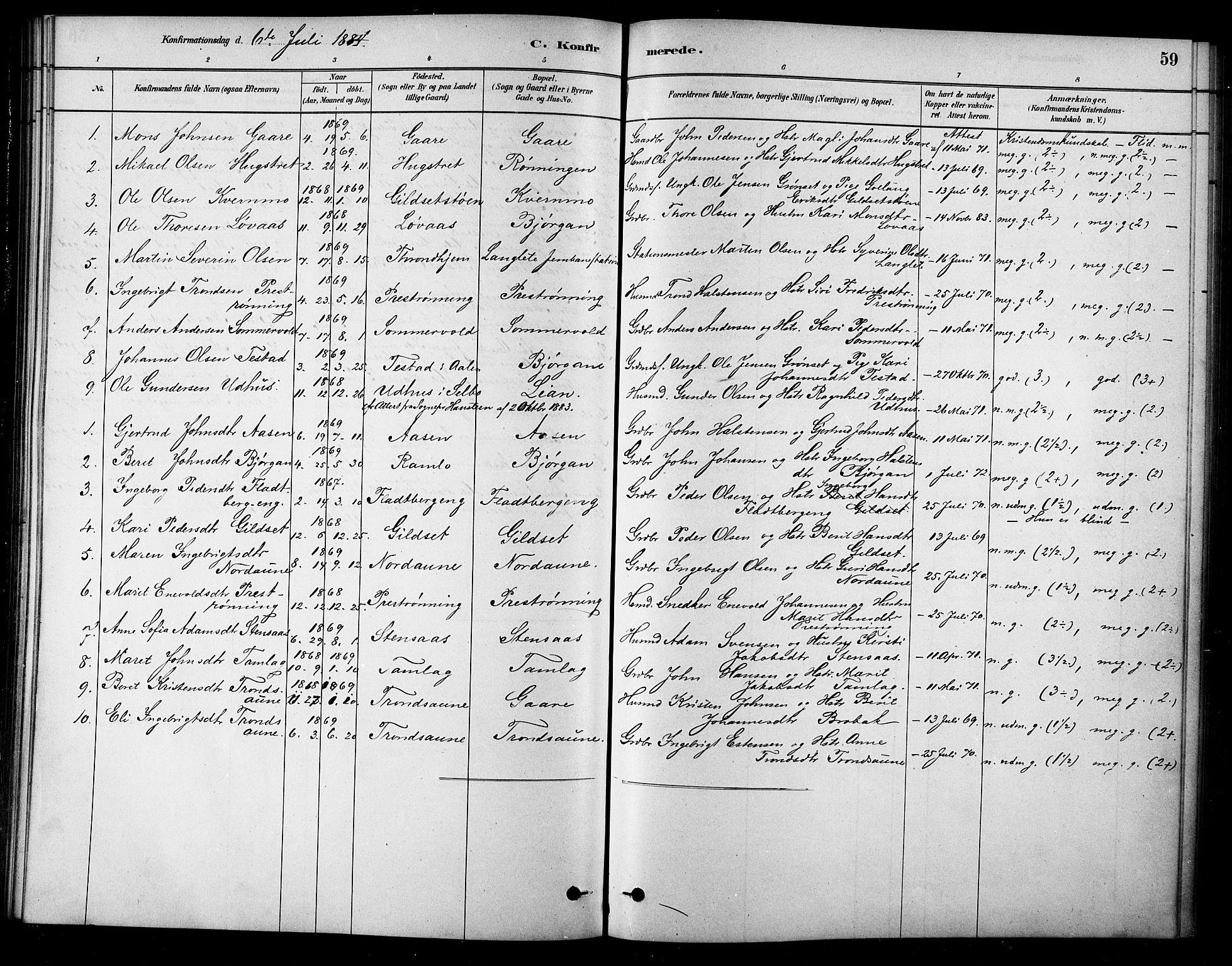 SAT, Ministerialprotokoller, klokkerbøker og fødselsregistre - Sør-Trøndelag, 685/L0972: Ministerialbok nr. 685A09, 1879-1890, s. 59