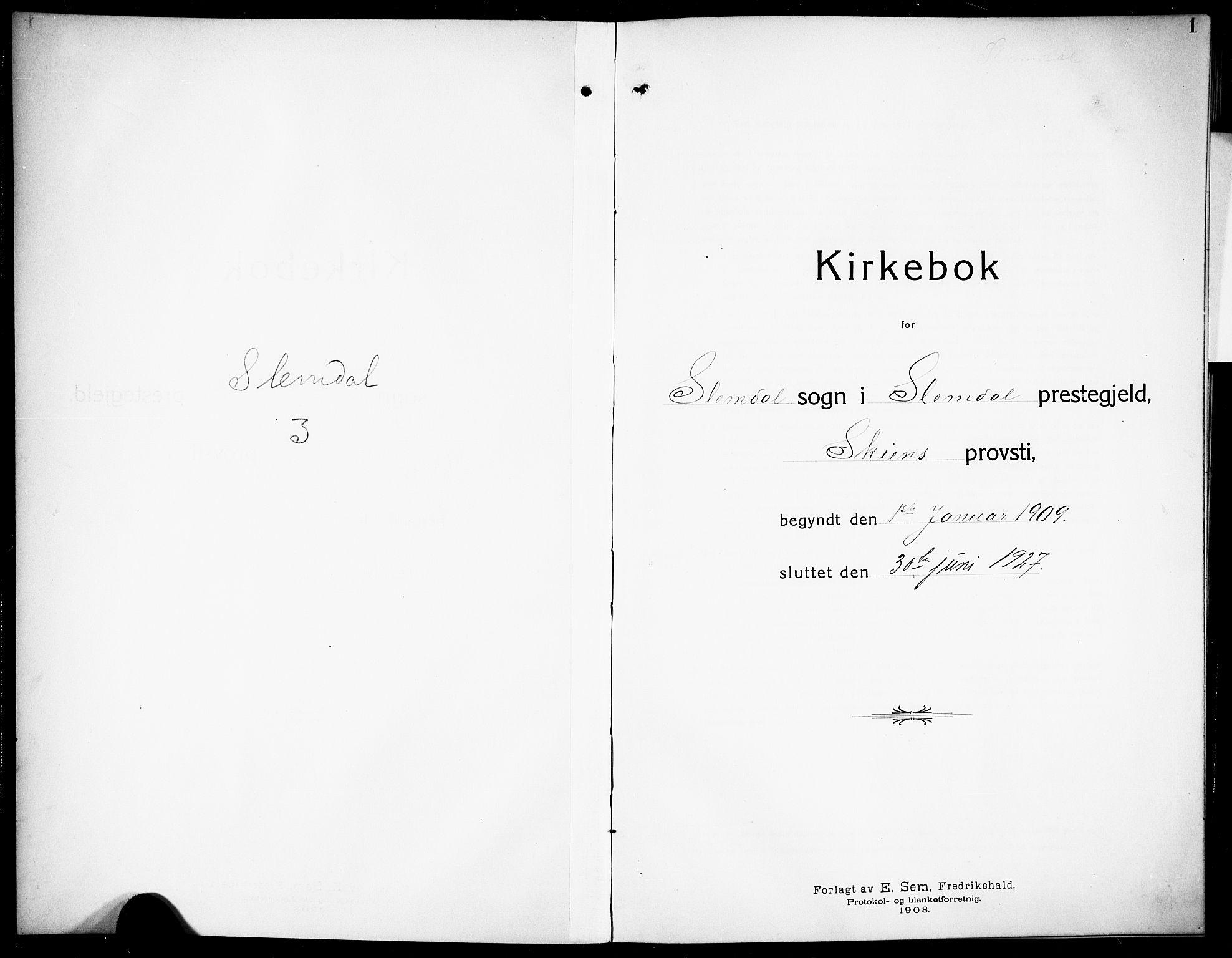SAKO, Siljan kirkebøker, G/Ga/L0003: Klokkerbok nr. 3, 1909-1927, s. 1