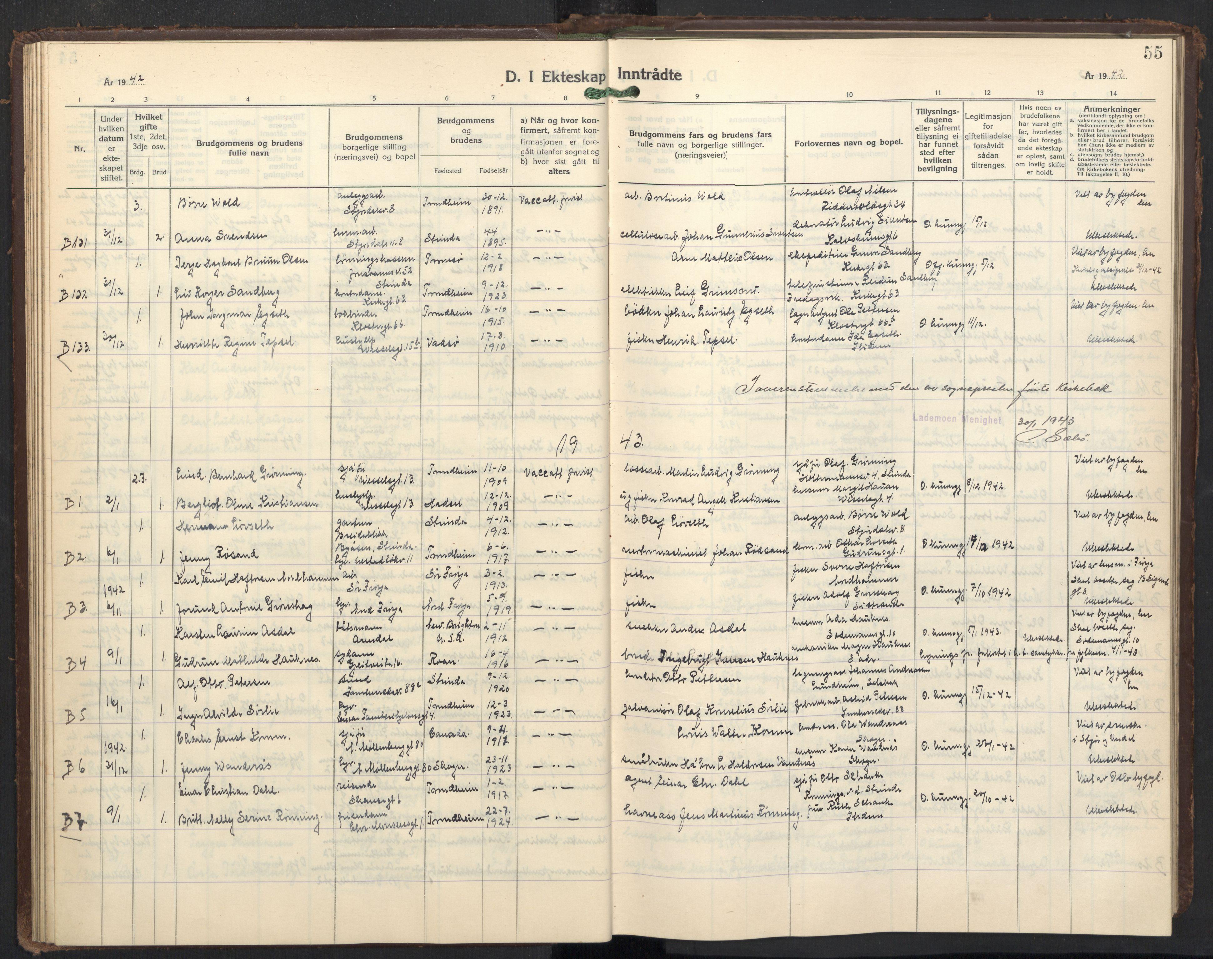SAT, Ministerialprotokoller, klokkerbøker og fødselsregistre - Sør-Trøndelag, 605/L0263: Klokkerbok nr. 605C10, 1938-1949, s. 55