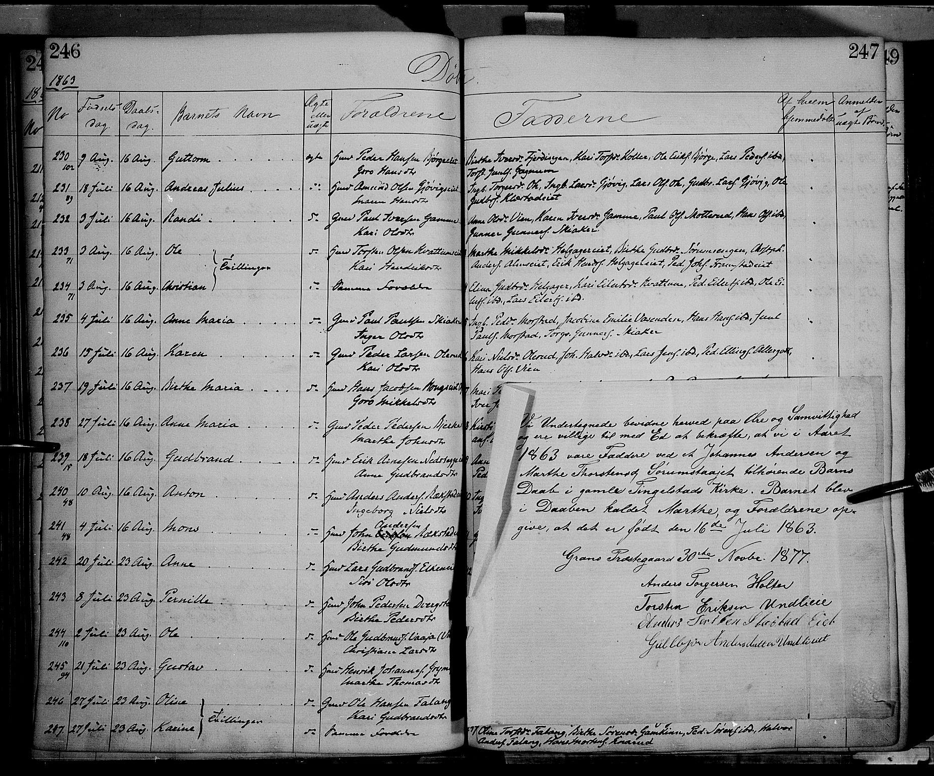 SAH, Gran prestekontor, Ministerialbok nr. 12, 1856-1874, s. 246-247