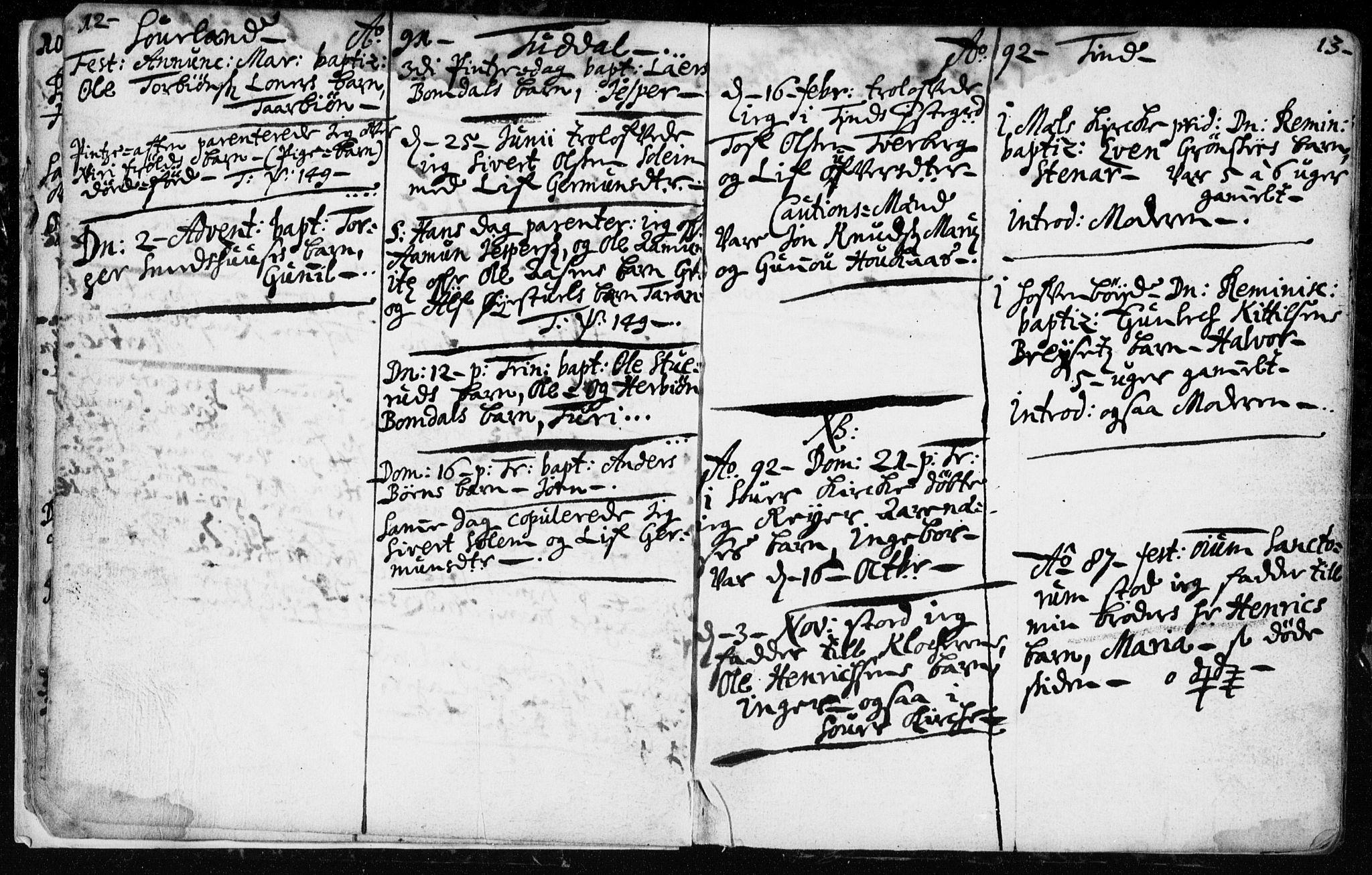 SAKO, Hjartdal kirkebøker, F/Fa/L0001: Ministerialbok nr. I 1, 1685-1714, s. 12-13