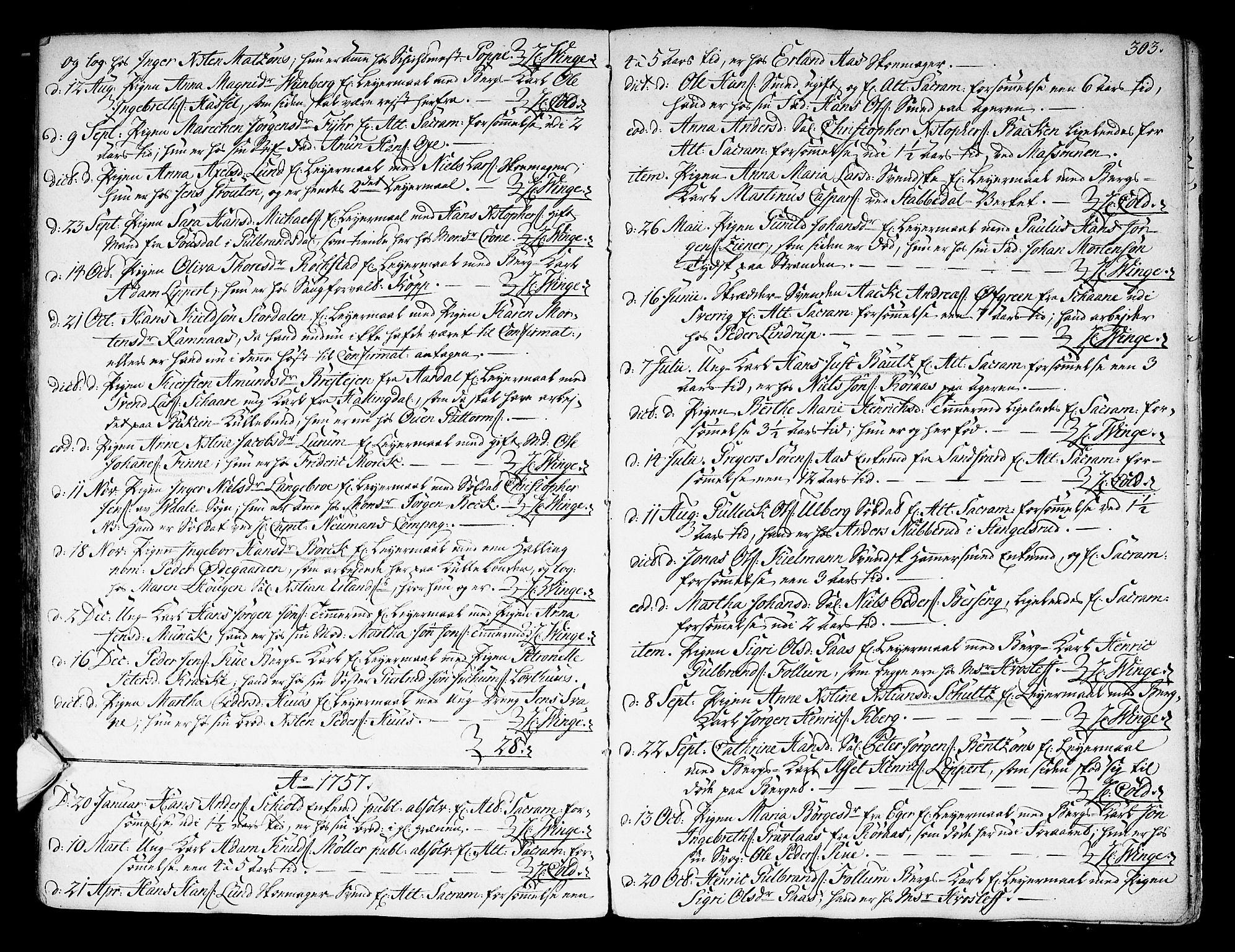 SAKO, Kongsberg kirkebøker, F/Fa/L0004: Ministerialbok nr. I 4, 1756-1768, s. 303