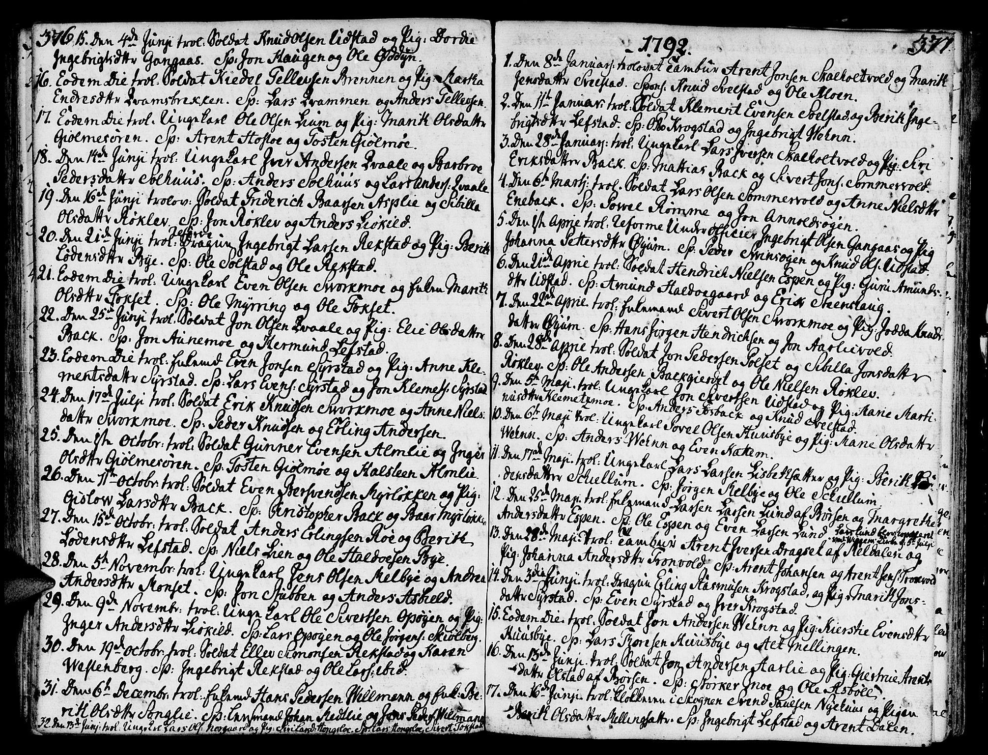 SAT, Ministerialprotokoller, klokkerbøker og fødselsregistre - Sør-Trøndelag, 668/L0802: Ministerialbok nr. 668A02, 1776-1799, s. 376-377